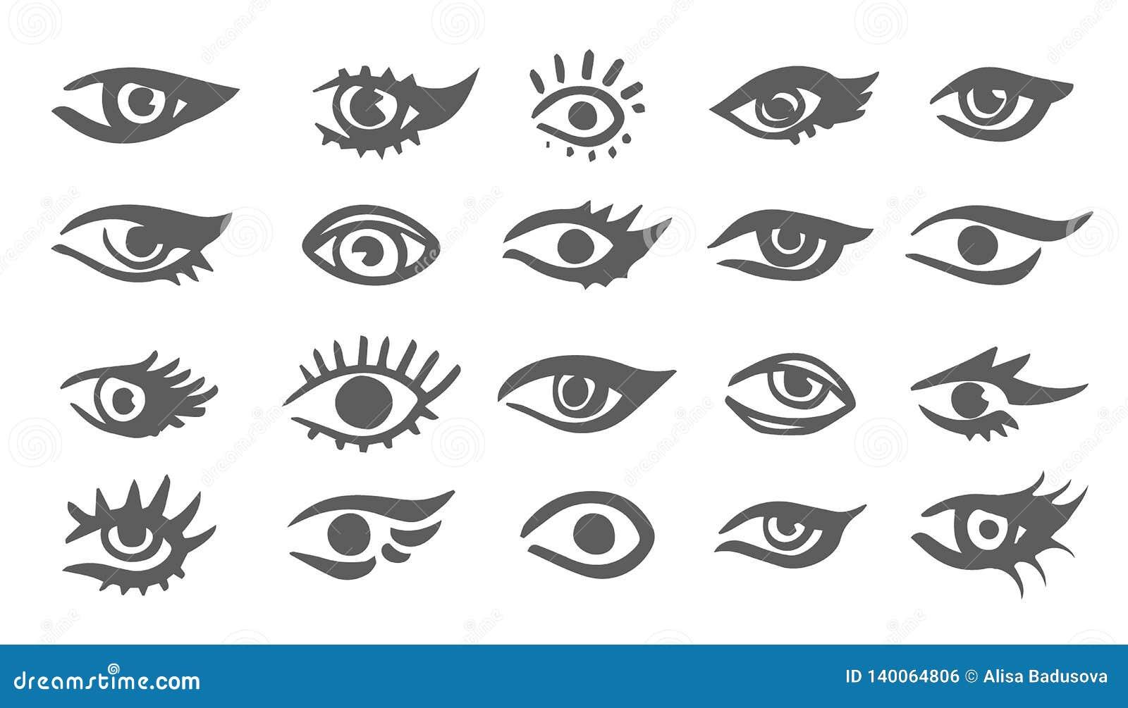 Les beaux yeux de femme dirigent le dessin d encre Illustration Ensemble noir de blanc