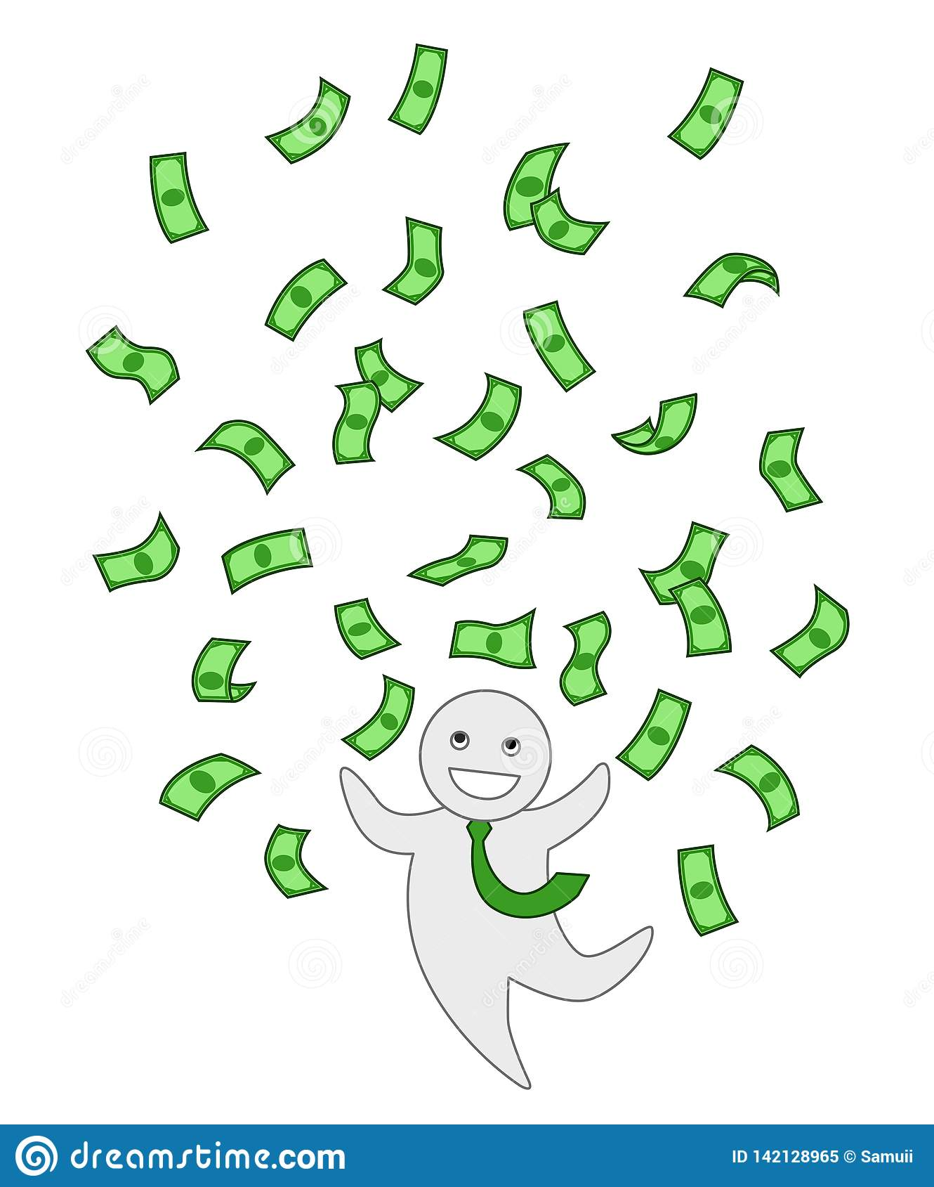 Les billets de banque verts pleuvoir, gros lot, argent pilotant le clipart d isolement Homme de bureau