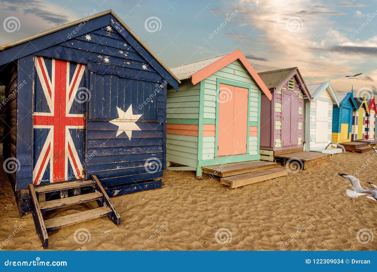 Les boîtes se baignantes colorées à Brighton échouent à Melbourne, Australi