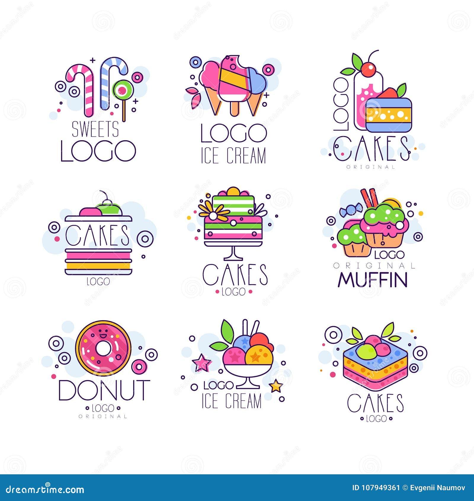 Les bonbons, gâteaux, logos de crème glacée placent, confiserie et les produits de boulangerie dirigent des illustrations