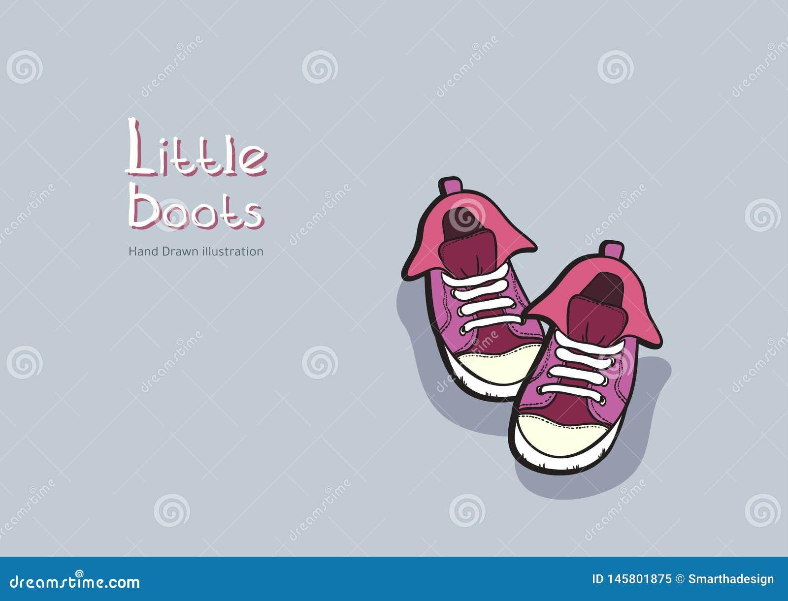 Les bottes pourpres d enfants dirigent le graphique tir? par la main pour le logo, affiche, carte postale, livret de mode, insect
