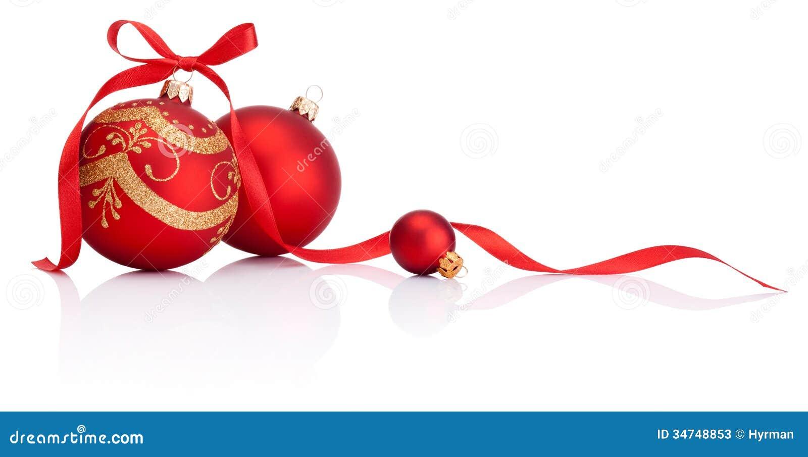 Les boules rouges de d coration de no l avec le ruban cintrent sur le blanc photos stock image - Les boules de noel ...