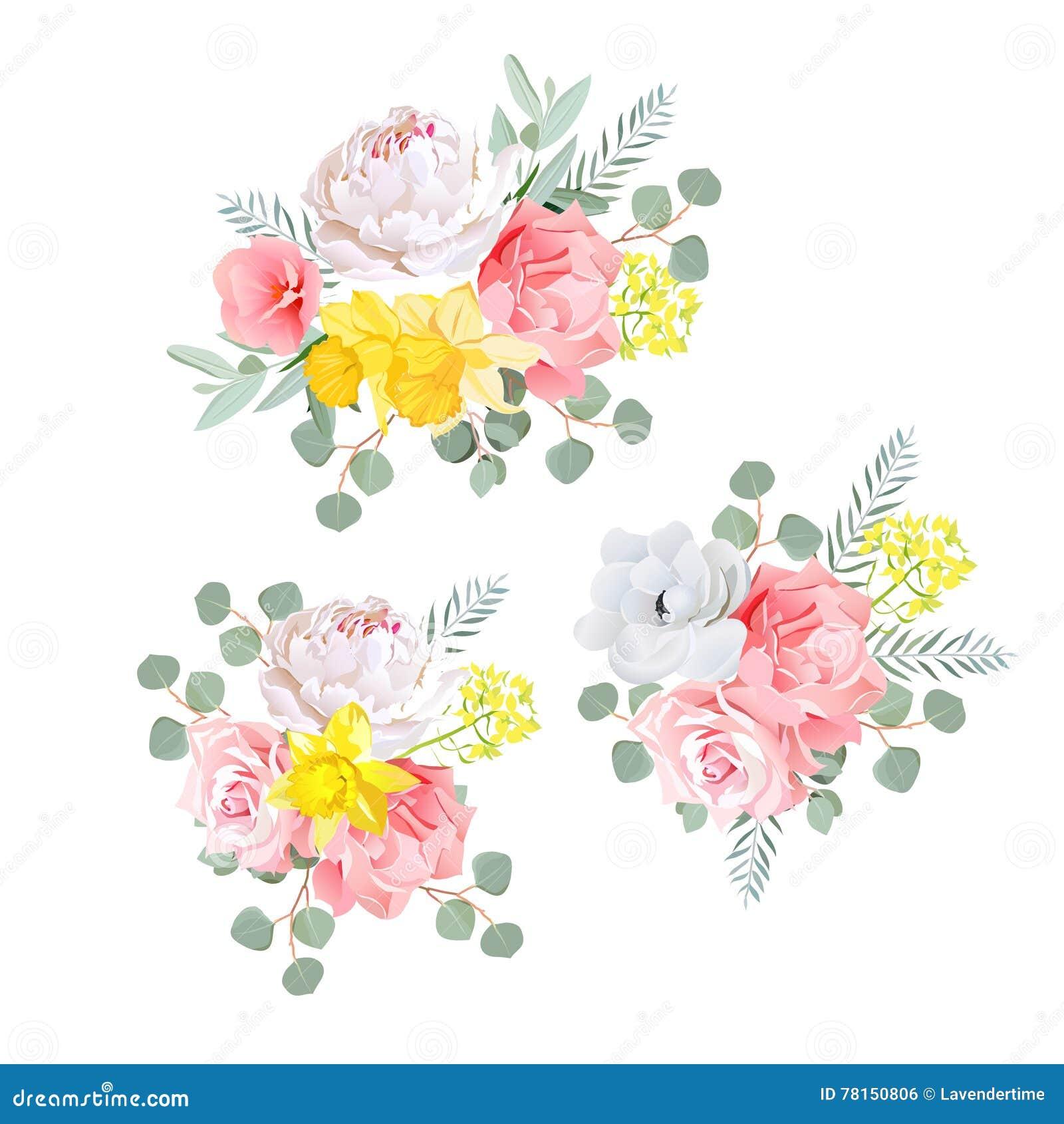 Feuille D Eucalyptus Bouquet les bouquets du dahlia, se sont levés, narcisse, anémone