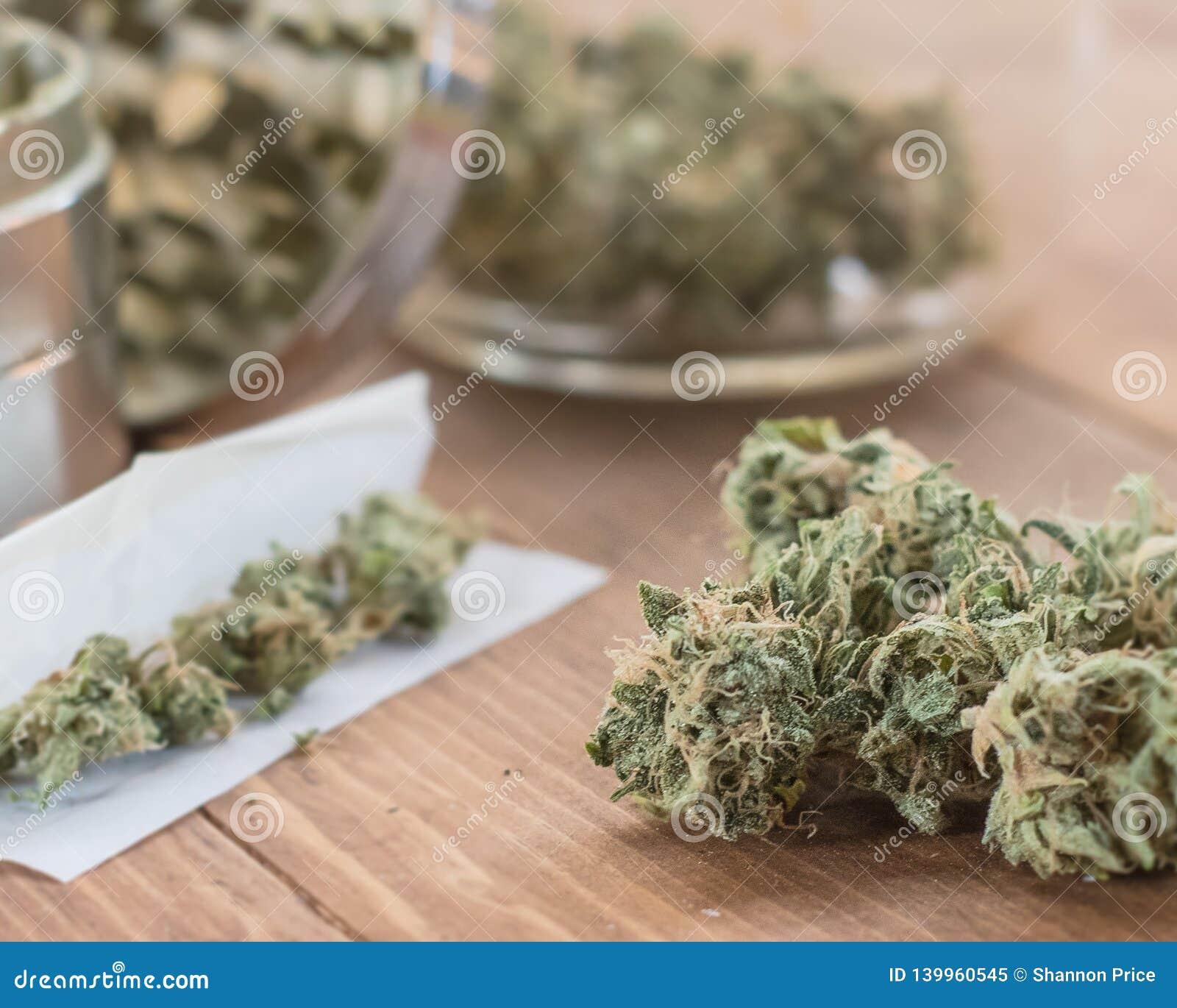 Les bourgeons de marijuana se ferment avec commun