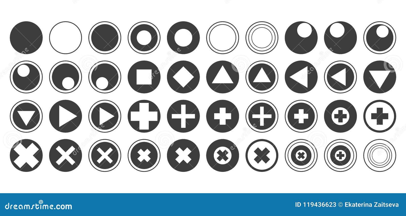 Les boutons ronds de vecteur avec des découpes de noir mat de croix de cercles de places de diamants d icônes de triangle ont pla