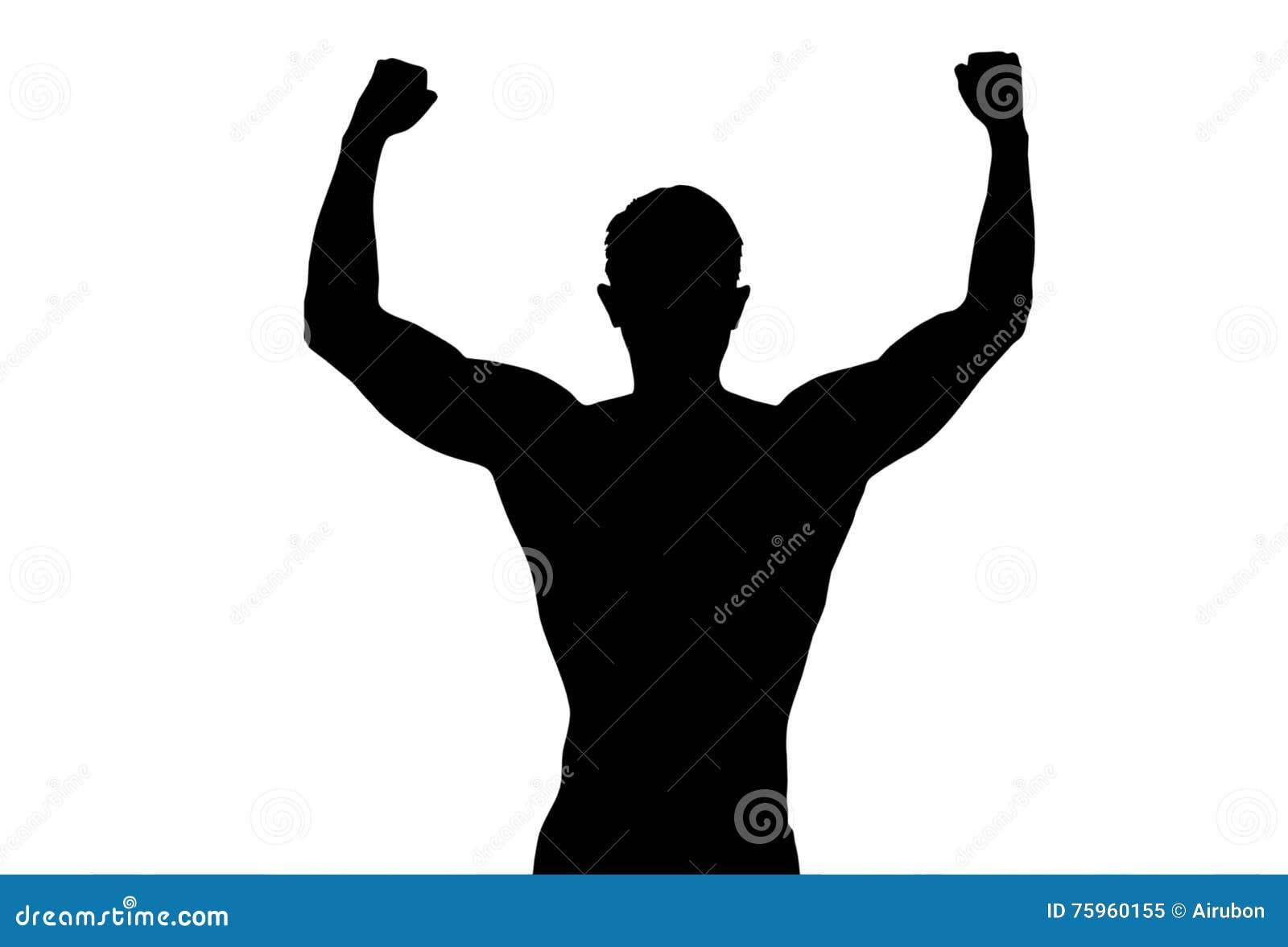 Les bras tendus par homme fort arrière de sport de silhouette montrent poser le corps de forme physique sur le fond blanc