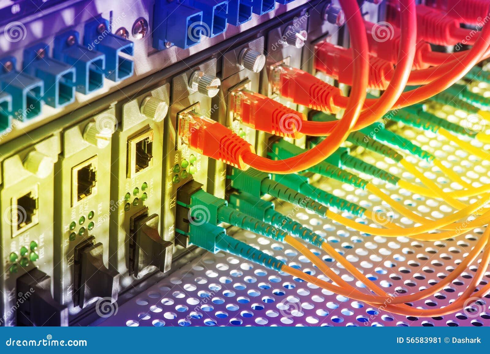 Les câbles optiques de fibre ont connecté à l les ports optiques
