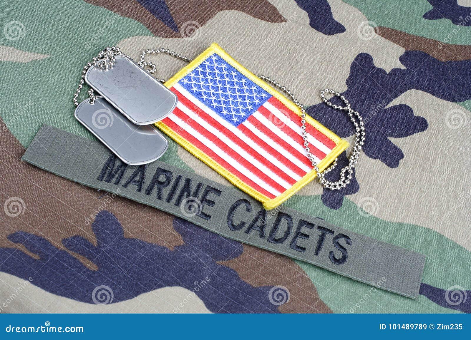 Les CADETS MARINS des USA s embranchent bande, correction de drapeau et les étiquettes de chien sur la région boisée camouflent l
