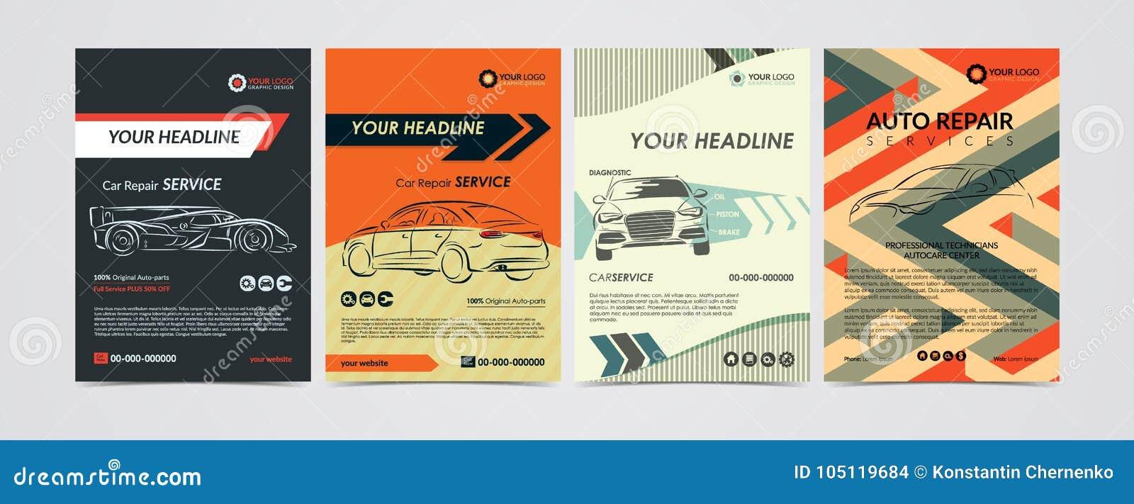 Les calibres automatiques de disposition d affaires de services des réparations ont placé, les voitures à vendre et la brochure d