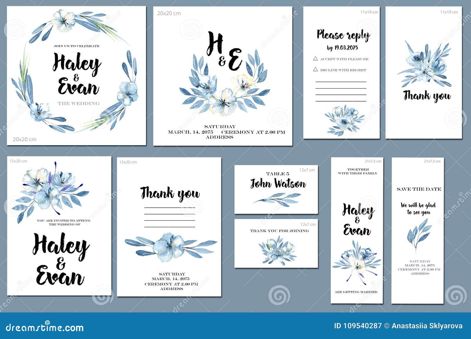 Les Calibres De Carte Ont Plac Avec Le Fond Bleu Fleurs Et Feuilles D