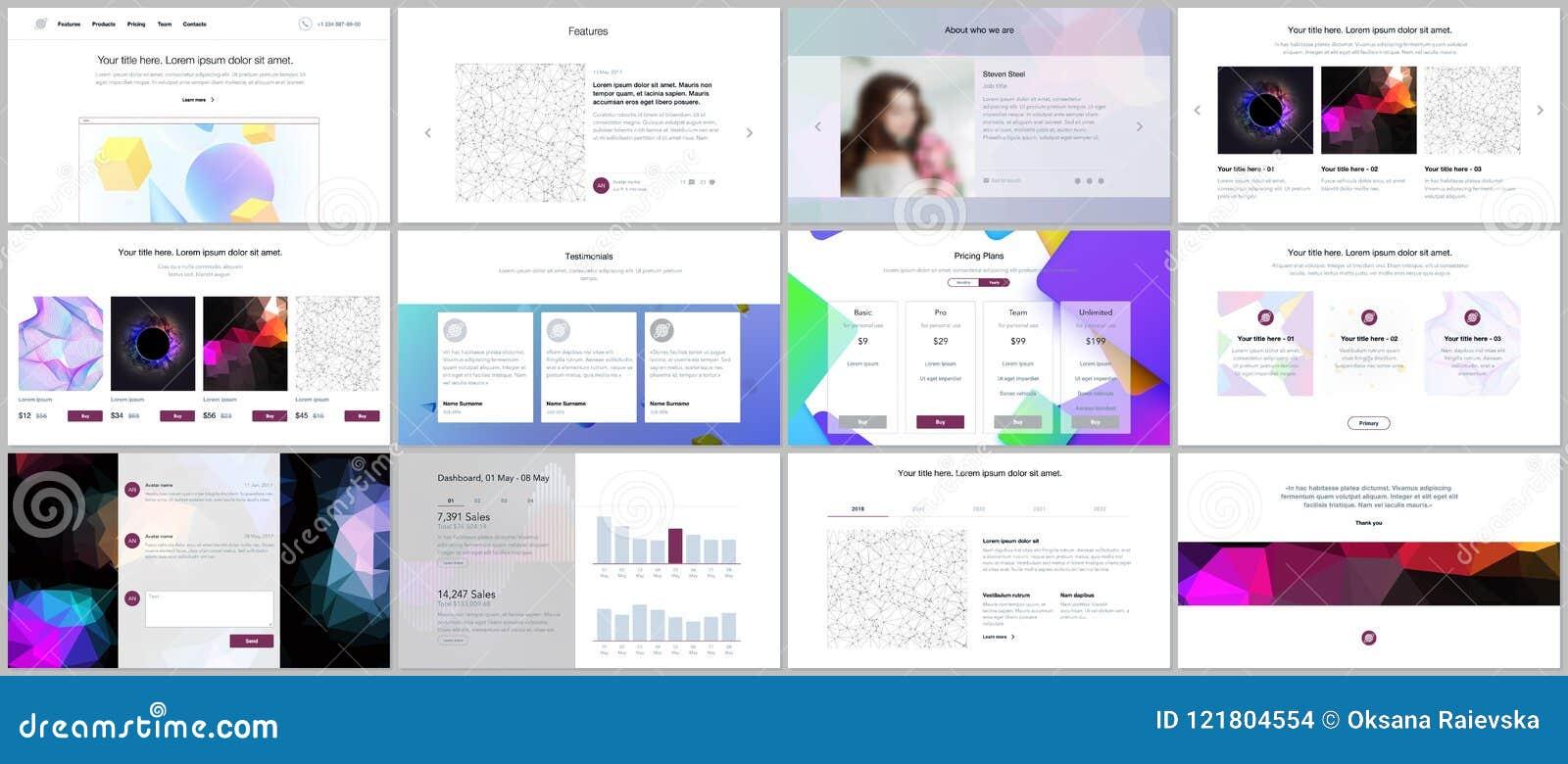 Les calibres de vecteur pour le site Web conçoivent, les présentations minimales, portfolio avec les milieux géométriques vibrant
