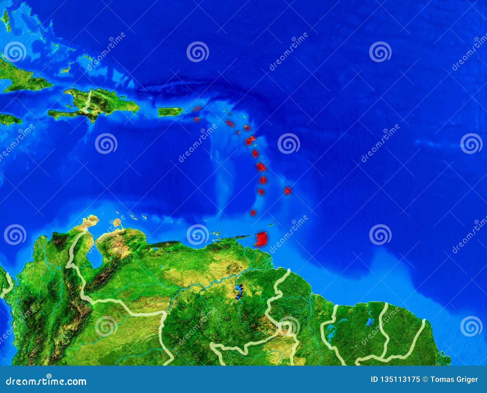 Les Caraïbe sur terre avec des frontières