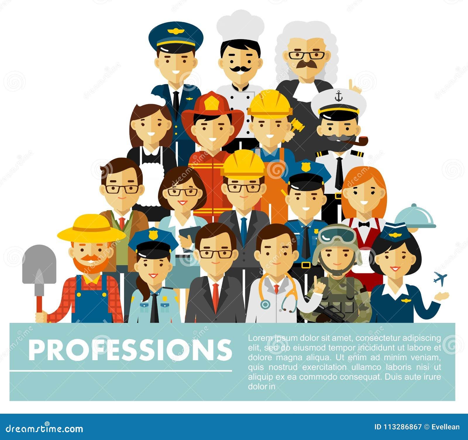 Les caractères de profession de personnes ont placé dans le style plat d isolement sur le fond blanc