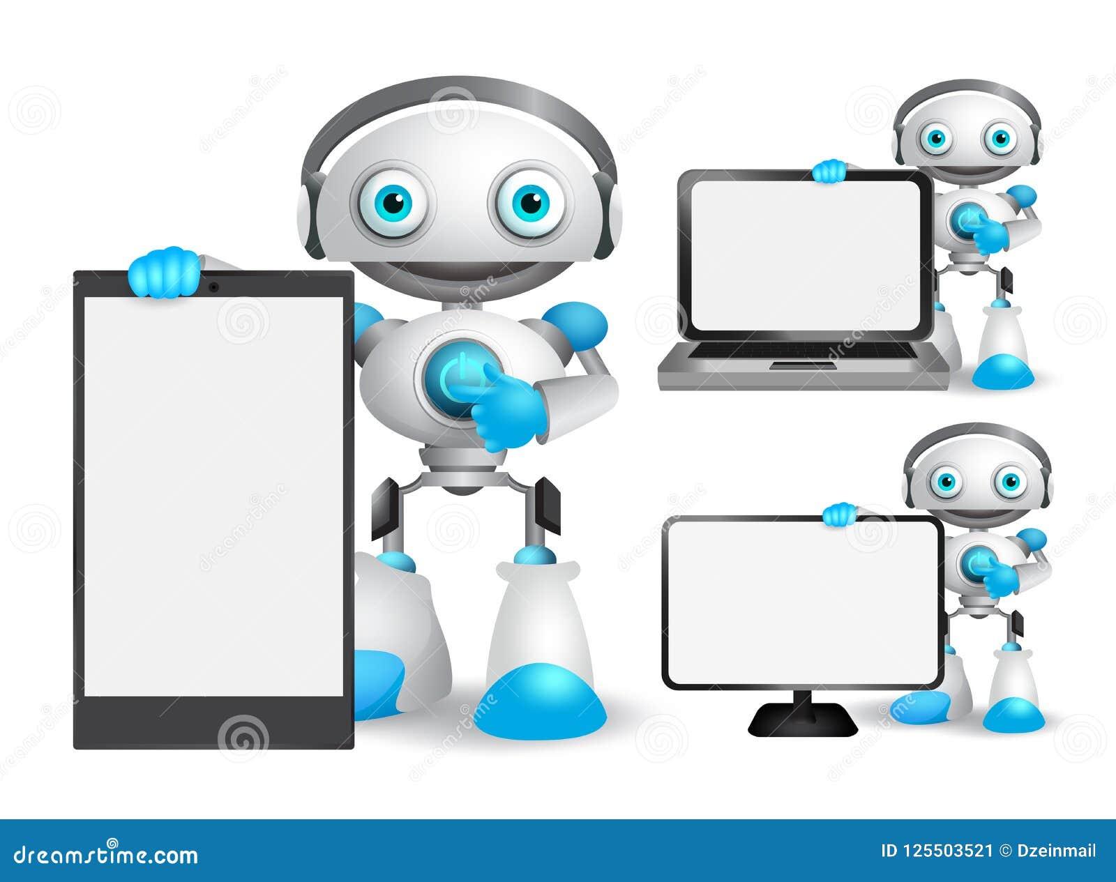 Les caractères de vecteur de robot ont placé tenir le téléphone portable, l ordinateur portable et tout autre instrument