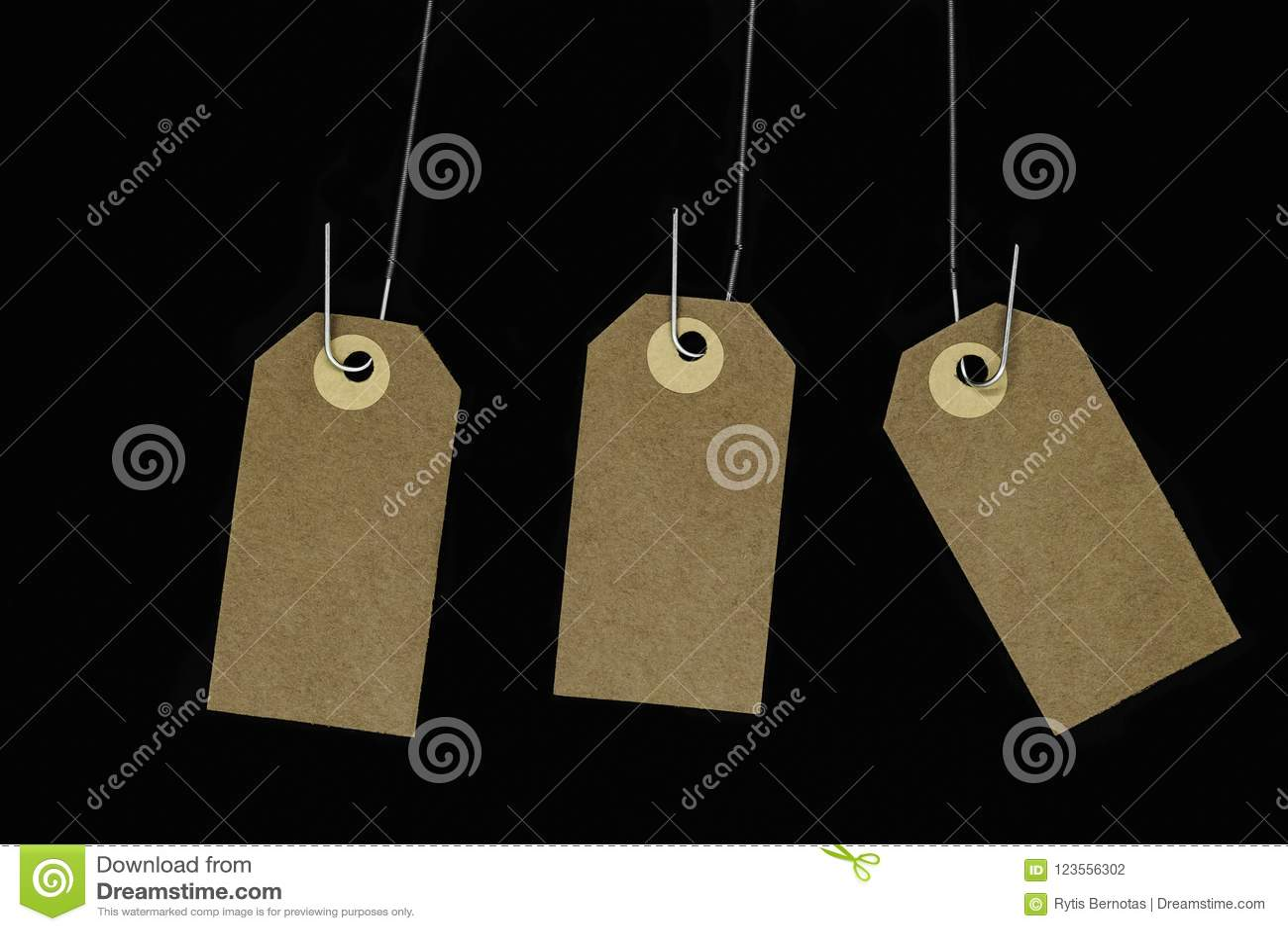 Les cartes brunes vierges accrochantes de note avec l espace de copie accroché sur le métal jaillissent et ont isolé sur le fond