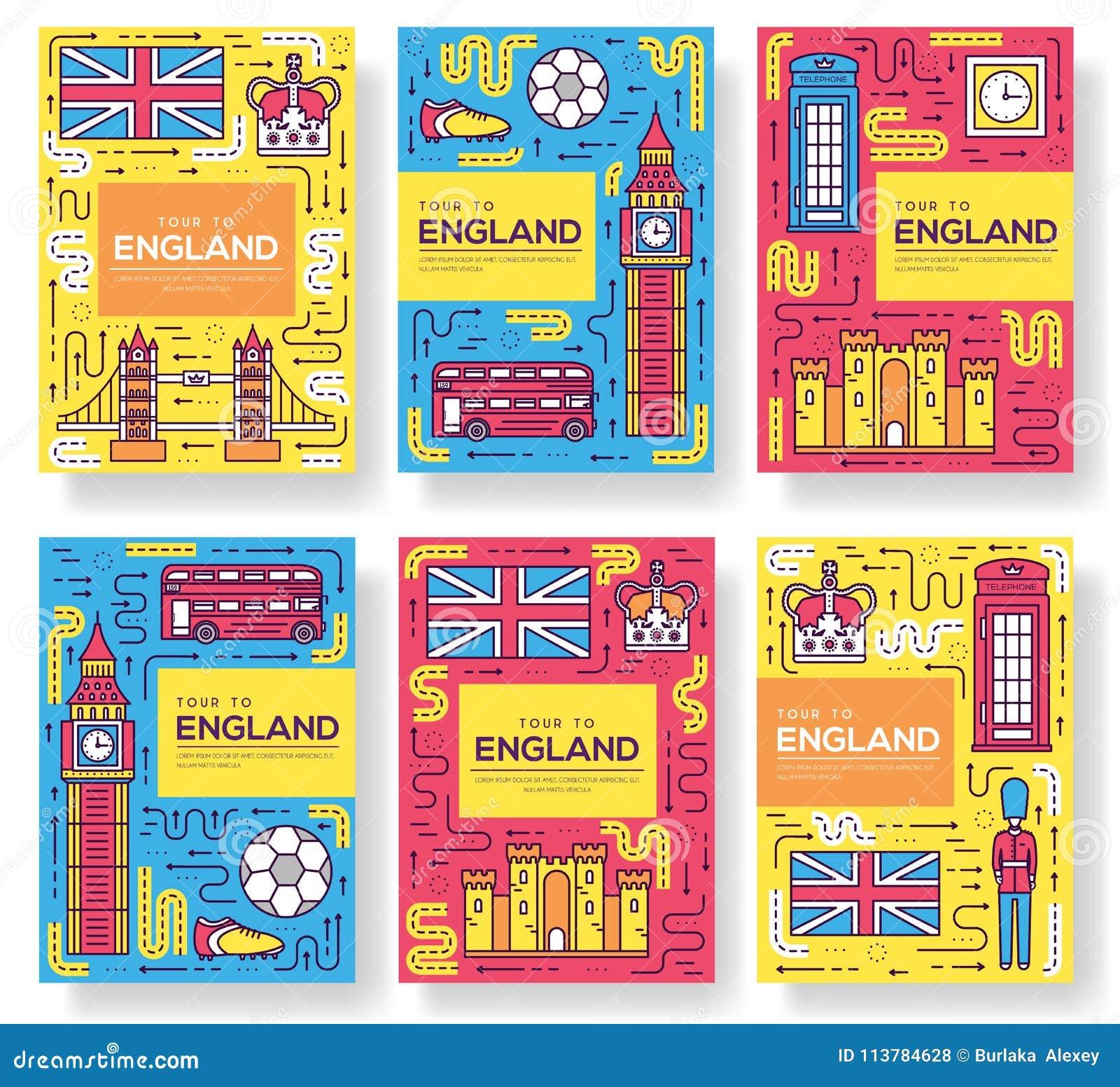 Les cartes de brochure de vecteur de l Angleterre amincissent la ligne ensemble Calibre de voyage de pays de flyear, magazines, a