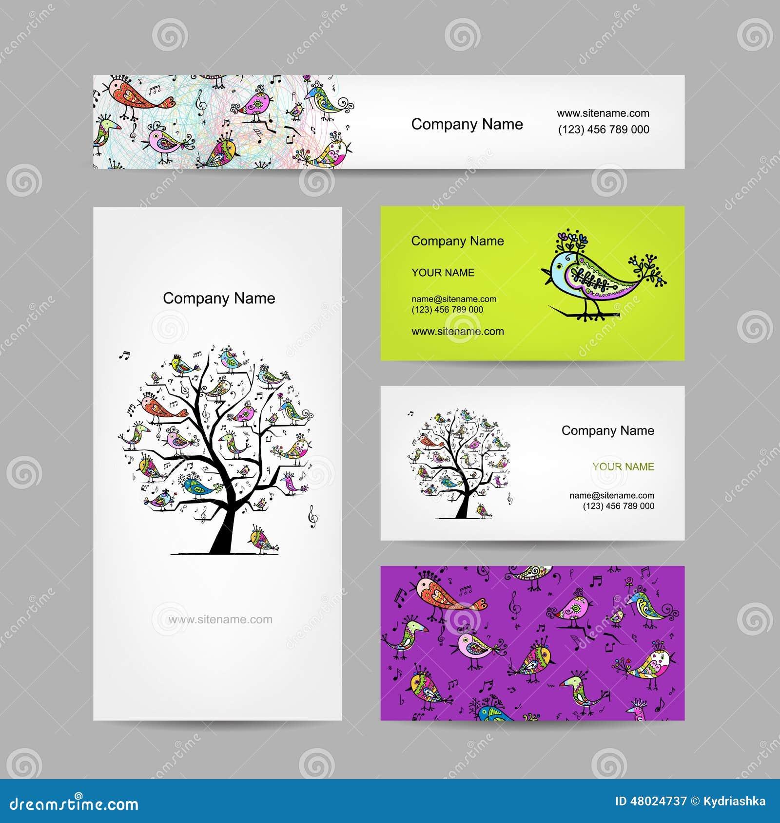 Les Cartes De Visite Professionnelle Conoivent Arbre D Art Avec Oiseaux Drles