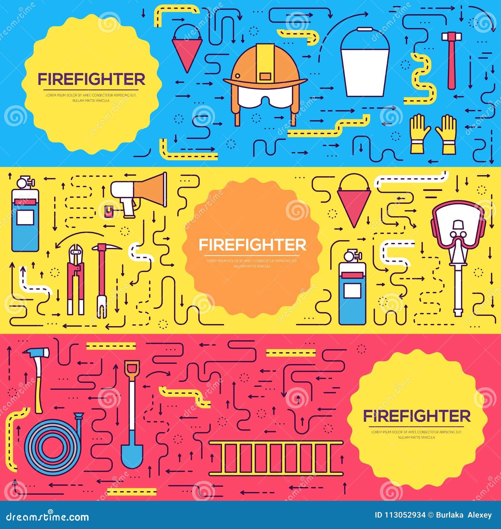Les cartes uniformes de brochure de vecteur de sapeur-pompier plat amincissent la ligne ensemble aidez d abord le calibre de flye