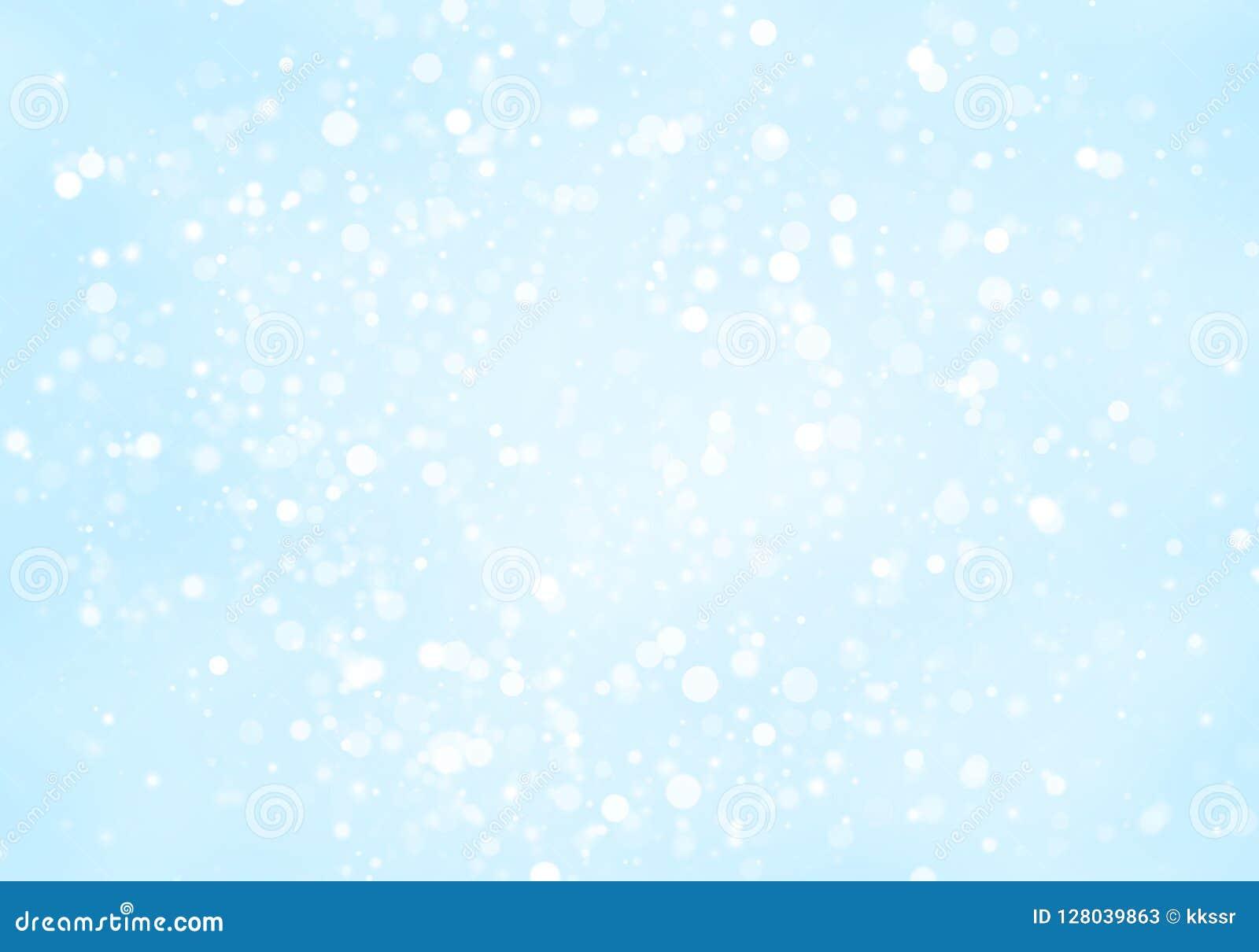 Les cercles blancs de scintillement abstrait forment le bokeh sur le fond bleu-clair