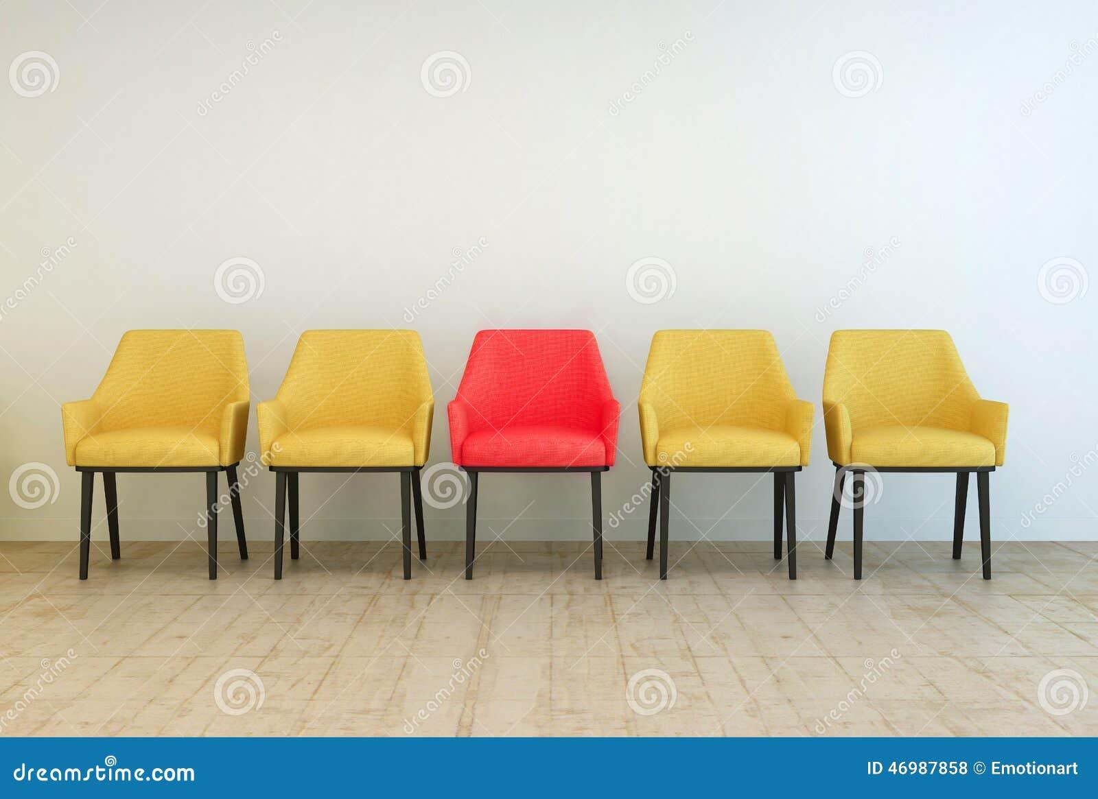 les chaises jaunes ont align avec rouges au milieu illustration stock image 46987858. Black Bedroom Furniture Sets. Home Design Ideas