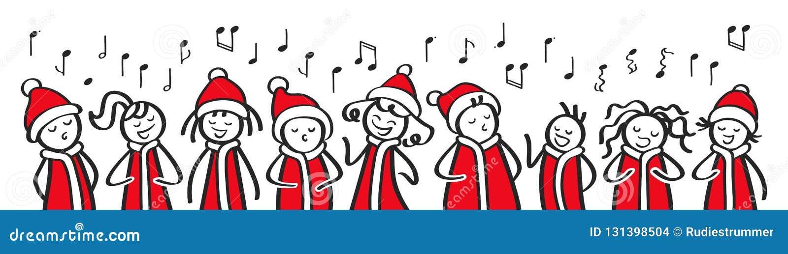 Les chanteurs de chant de Noël, le choeur, les hommes drôles et les femmes chantant, chiffres de bâton dans des costumes de Santa