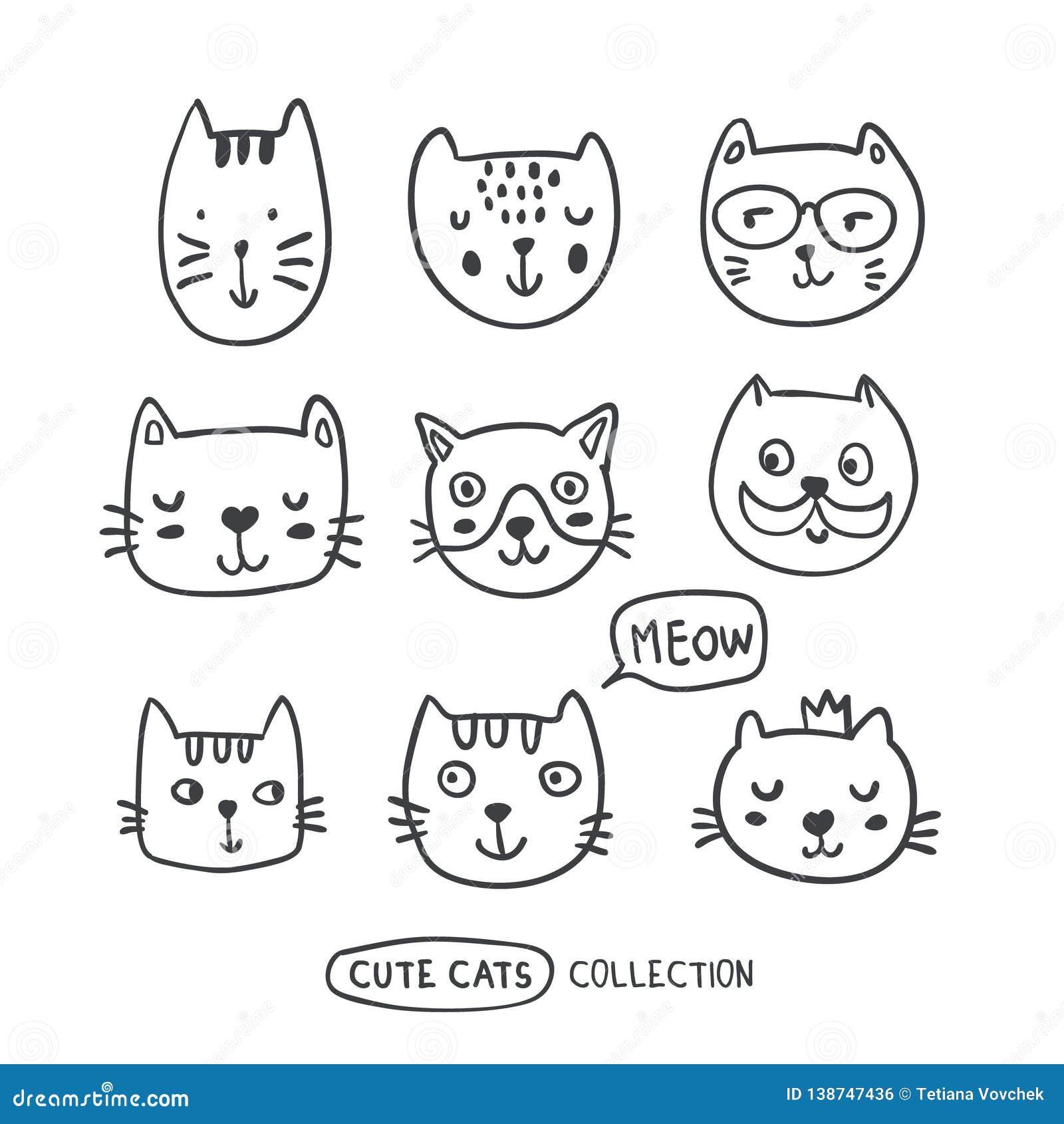 Les chats drôles d ensemble de griffonnage fait face à la collection