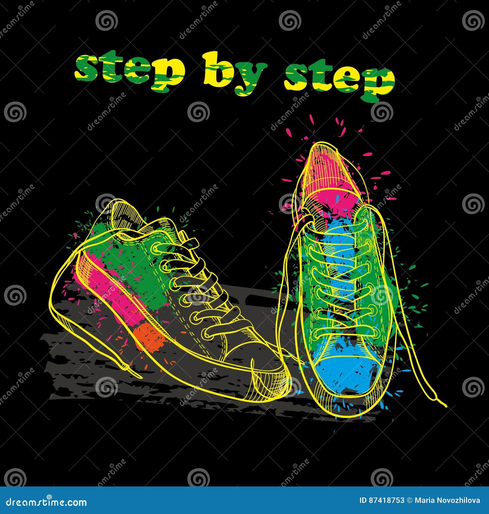 Chaussures L'encre L'effet Tirées Les L Avec La Par Sport Main De zd6Fqx