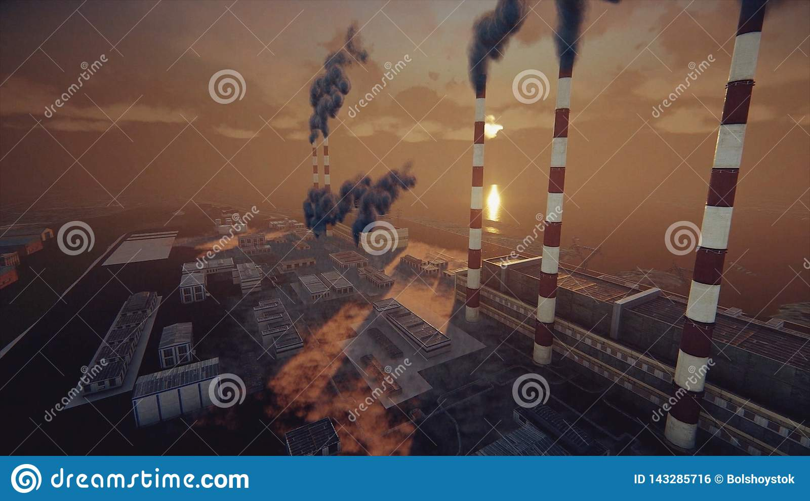 Les cheminées de tabagisme de l usine et de l usine abstraite dans le brouillard enfumé épais, les problèmes écologiques et le co