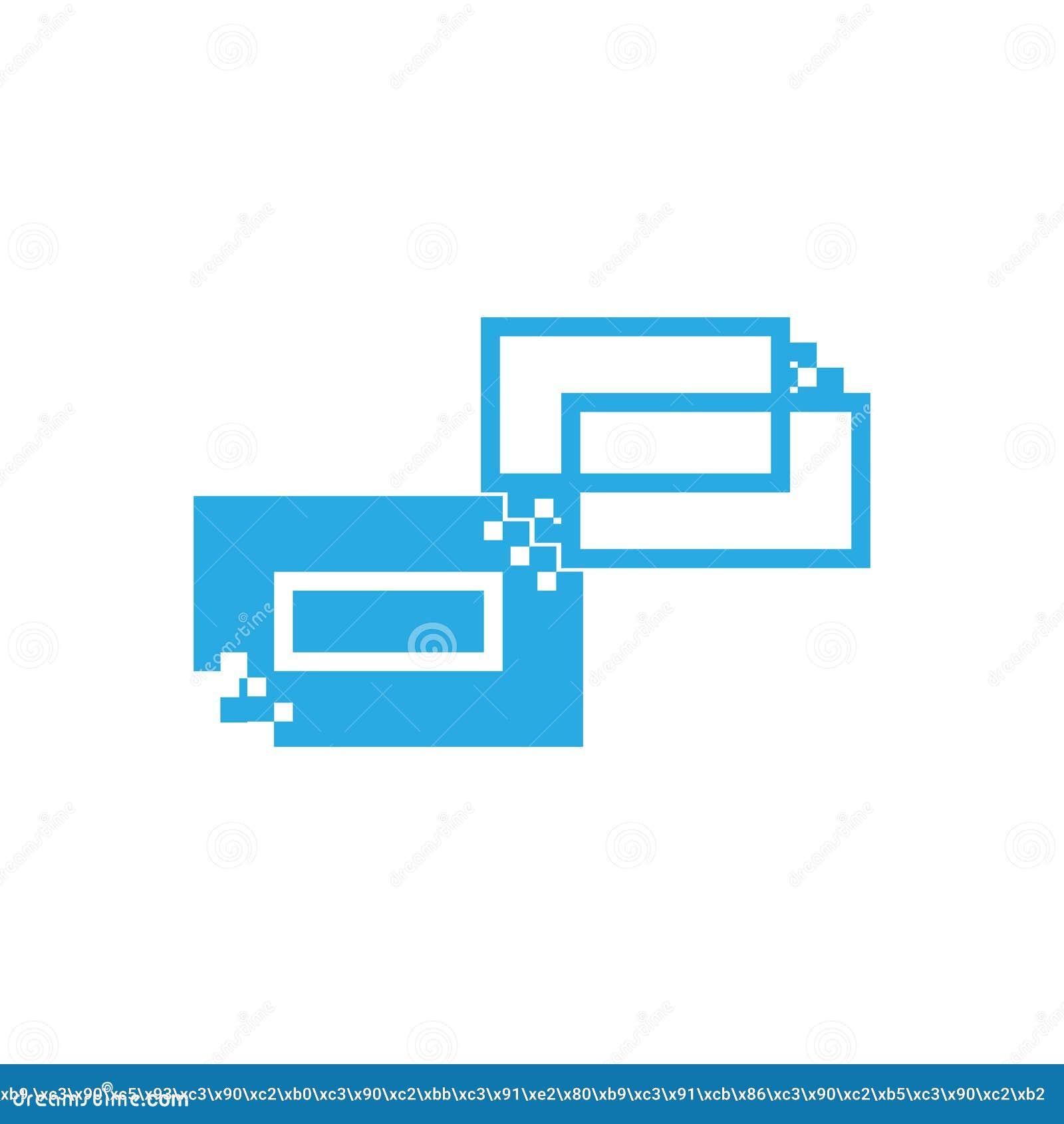 Les chiffres géométriques d image de vecteur de couleur bleue sous forme de rectangles et de découpes faisant un logo pour l usag