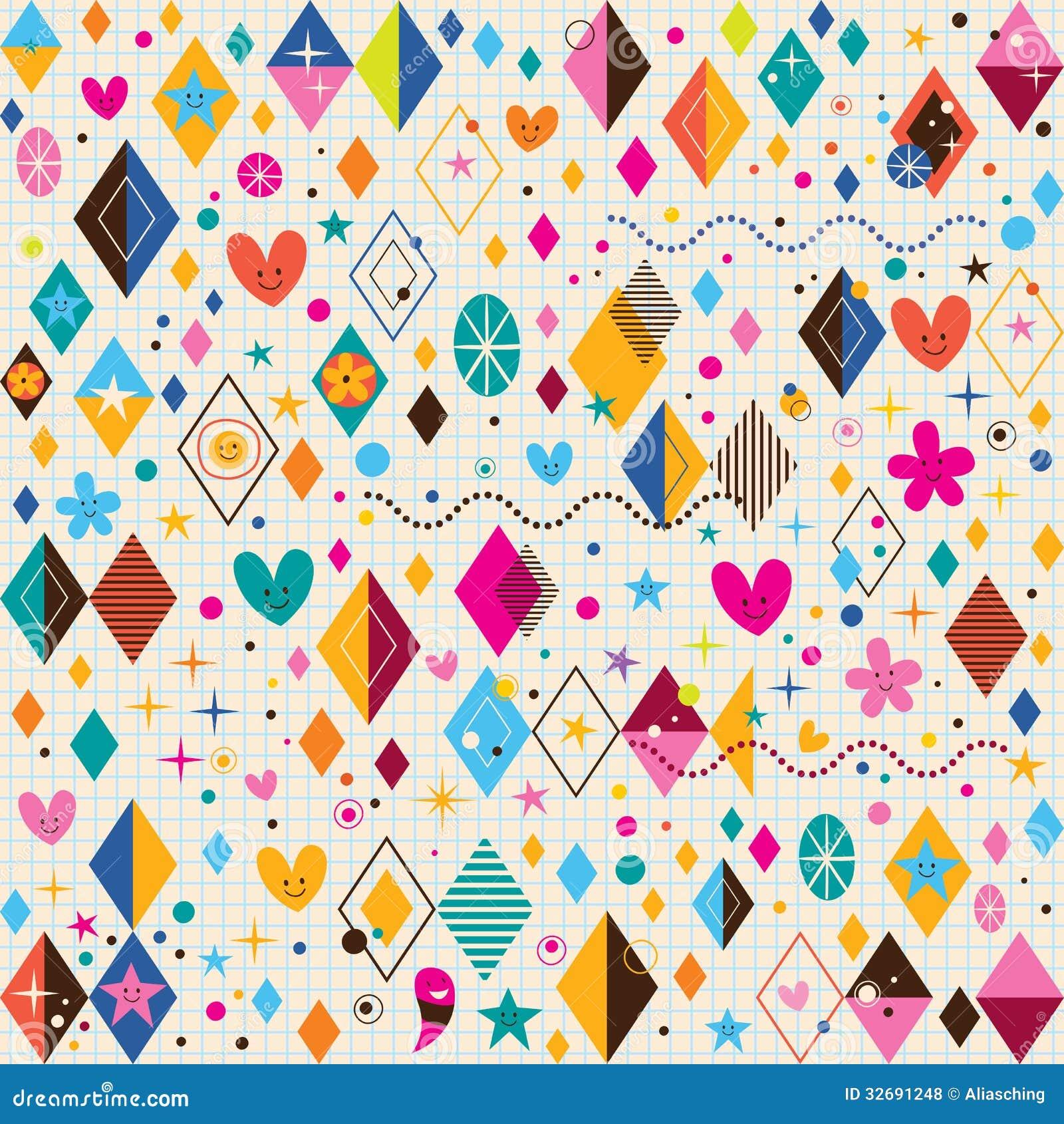 Les coeurs mignons, les étoiles, les fleurs et carnet de formes de diamant le rétro empaquettent le modèle