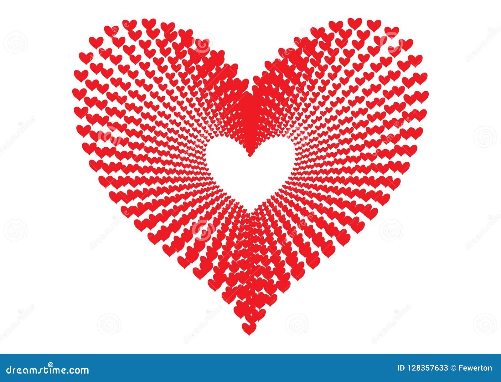 Les coeurs rouges modèlent former la forme d un grand coeur dans la perspective concentrique de modèle d alignement comme tunnel