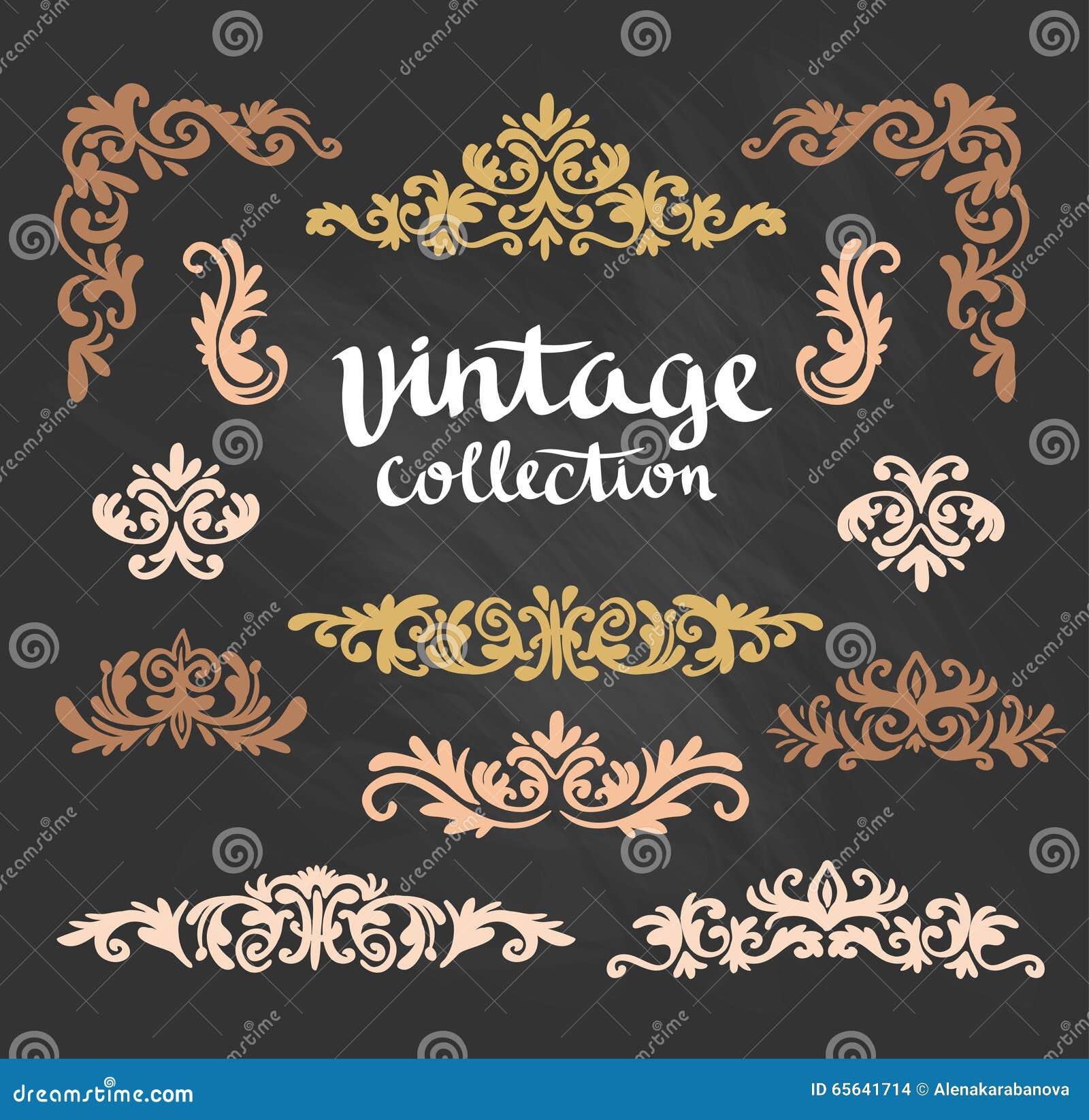 Les conceptions calligraphiques d or ornemental de vintage ont placé sur le tableau