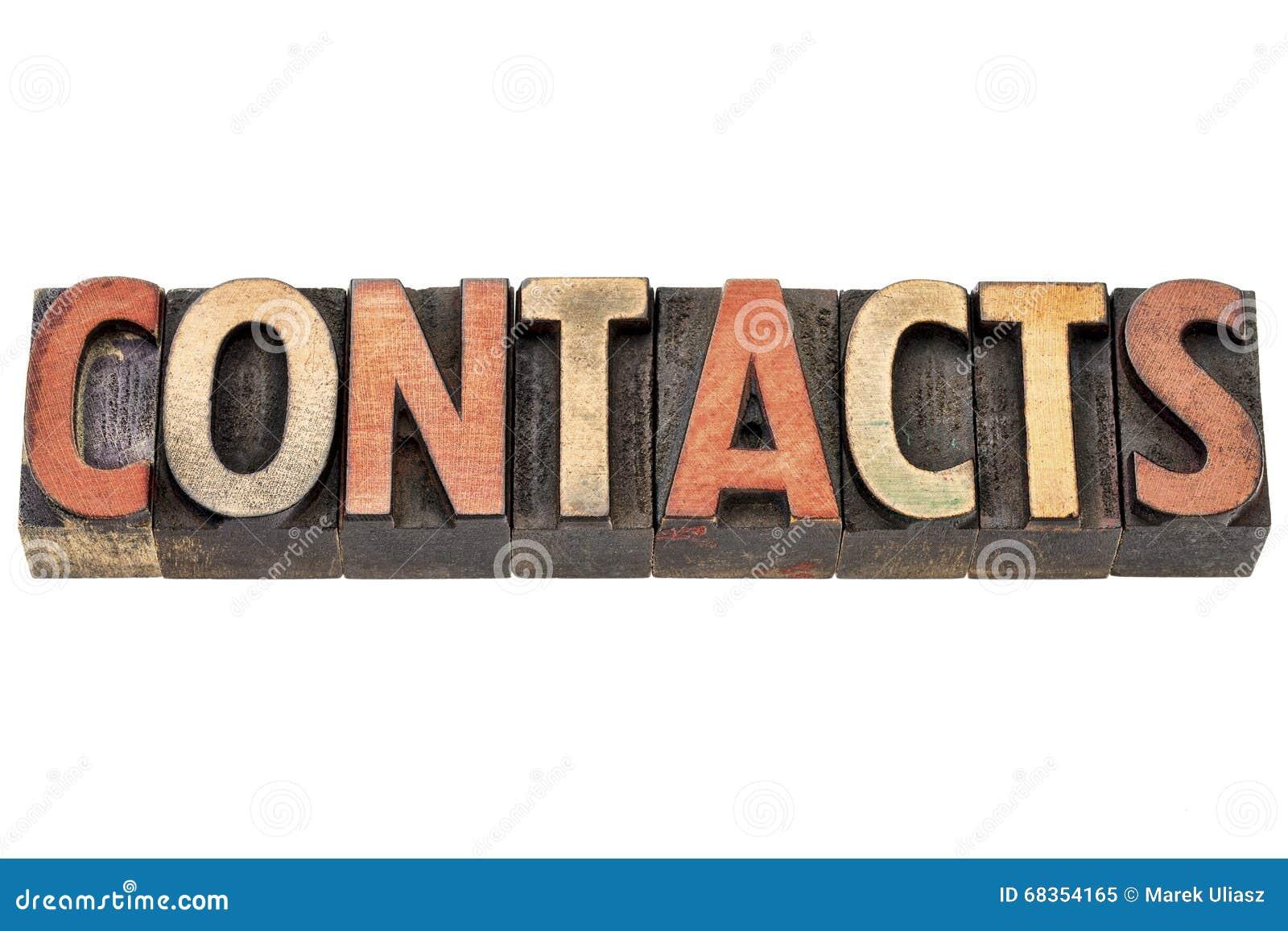 Les contacts expriment dans le type en bois
