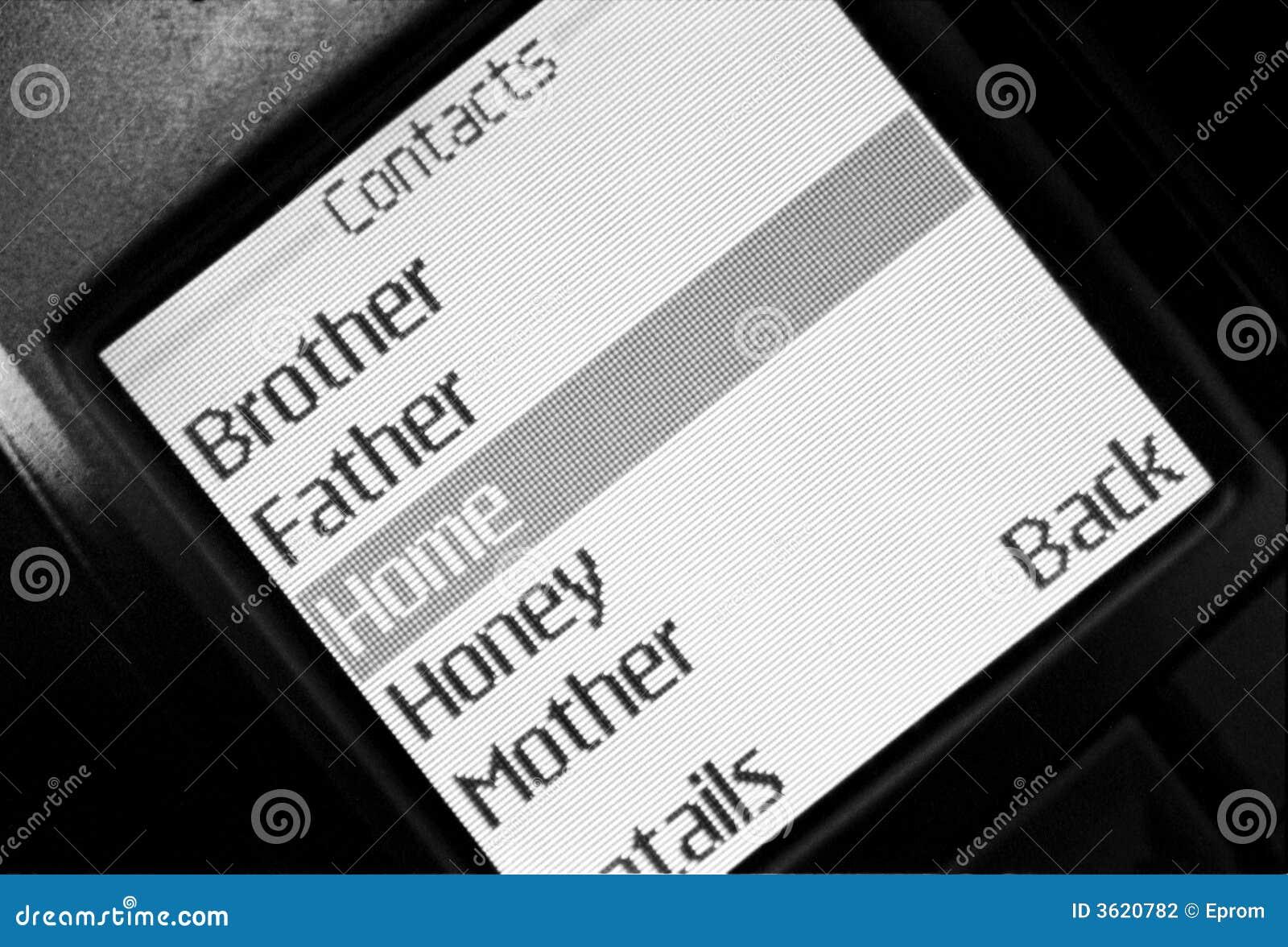 Les contacts mentionnent dans le téléphone