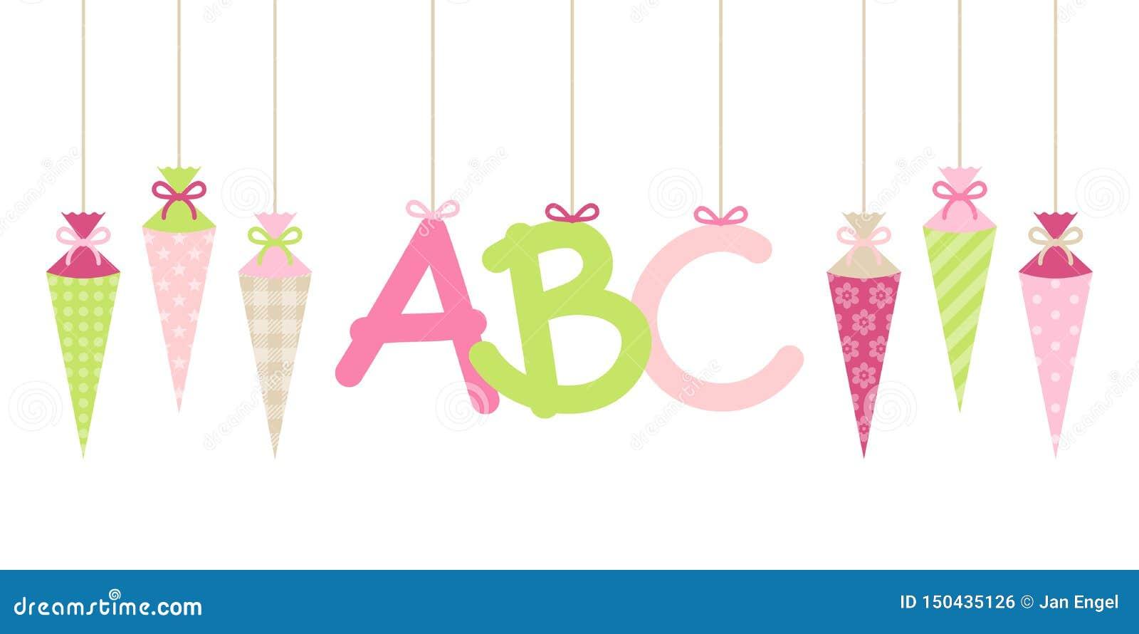 Les cornets accrochants droits fille et ABC d école de bannière marque avec des lettres le vert rose
