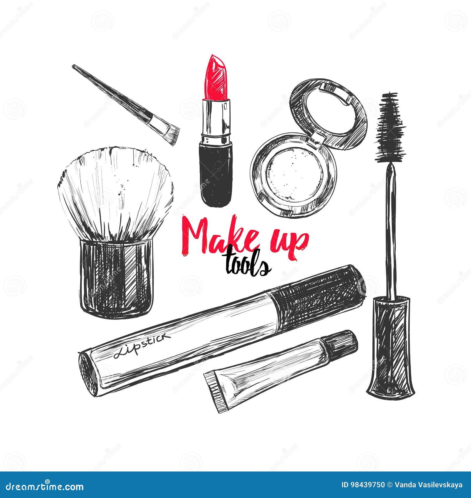 Les cosmétiques et le fond de beauté avec composent des objets d artiste et de coiffure : rouge à lèvres, crème, brosse avec la p