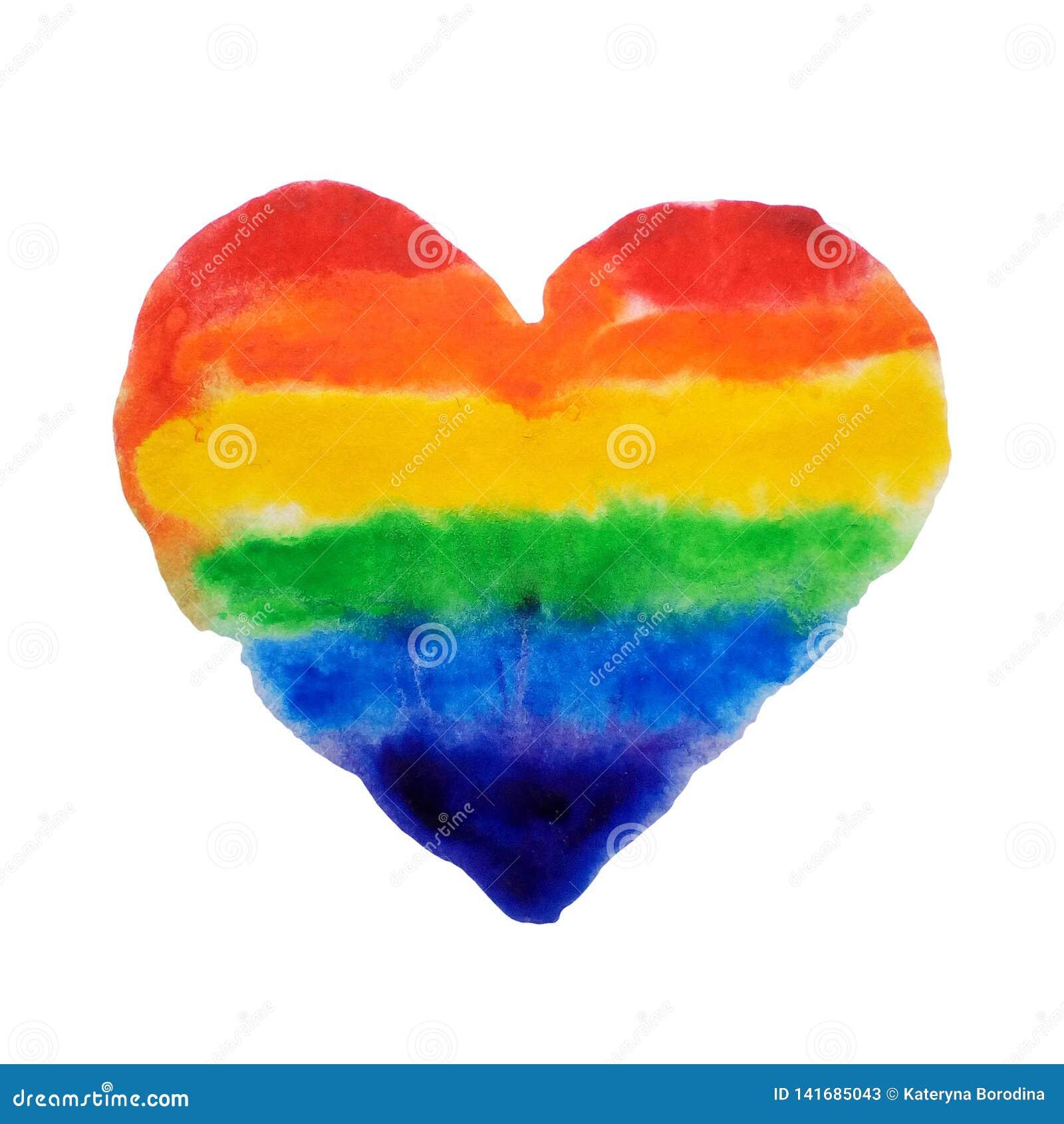 Les couleurs d arc-en-ciel d aquarelle aiment l illustration gaie de la lesbienne LGBT d isolement