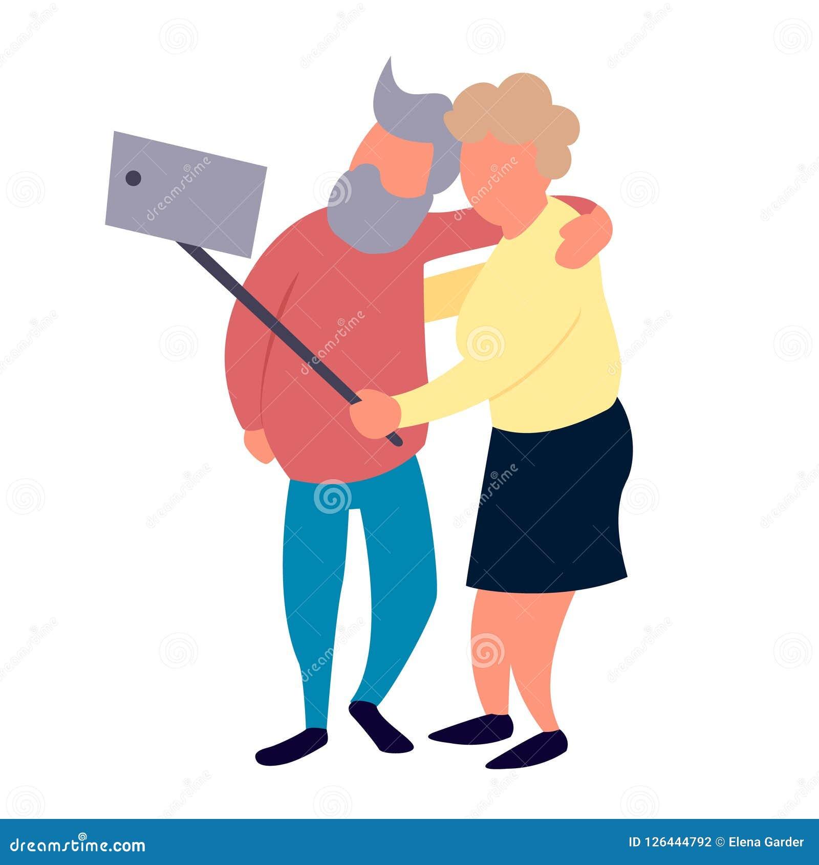 Les couples de personnes âgées font le selfie Concept supérieur d activités de récréation et de loisirs