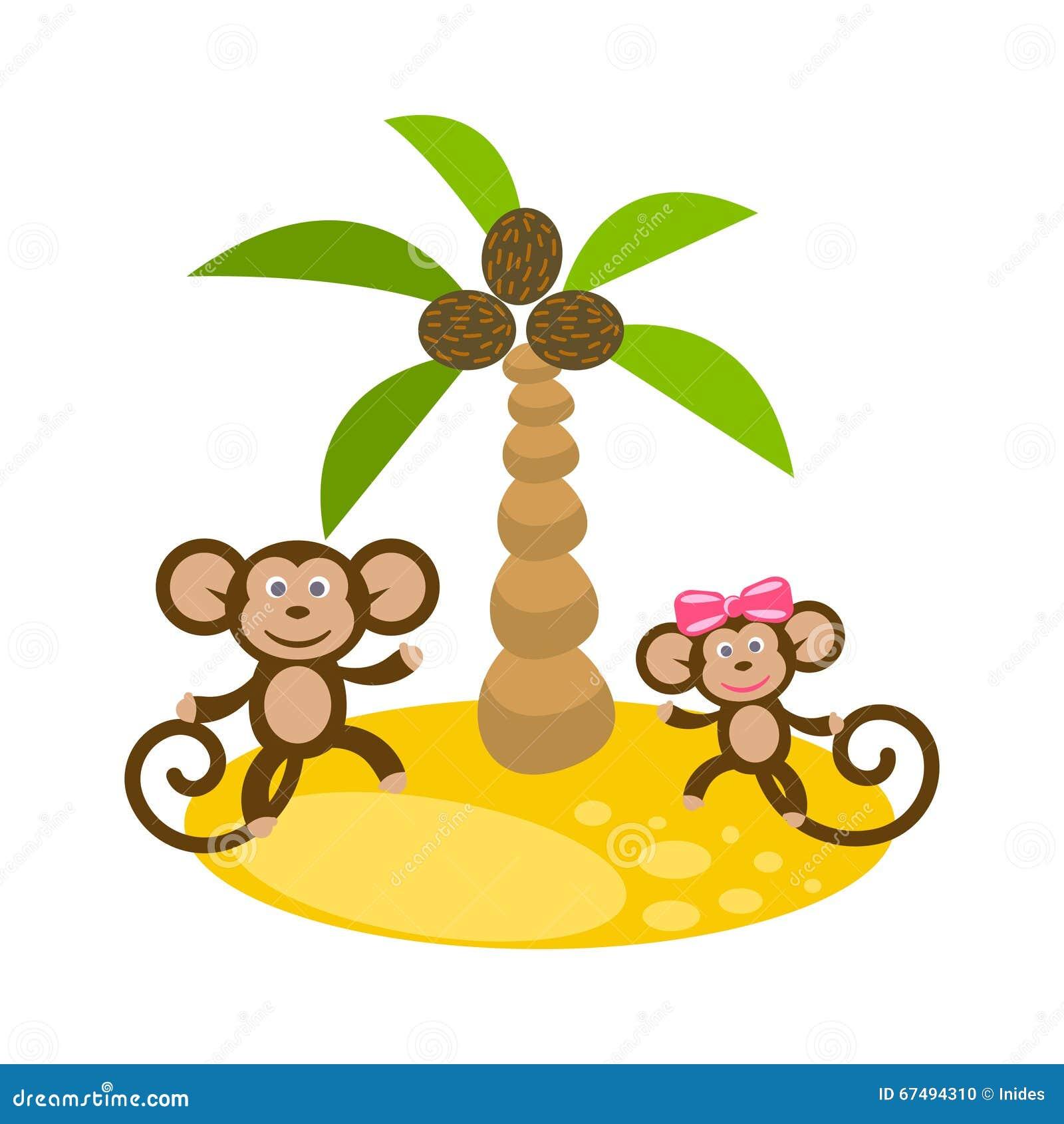 Les couples de singe de danse s 39 approchent du clipart images graphiques de palmier de noix de - Palmier clipart ...