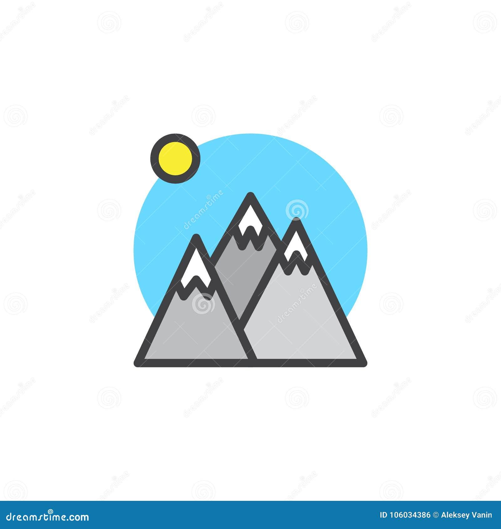 Les crêtes et le soleil de montagne d hiver ont rempli icône d ensemble