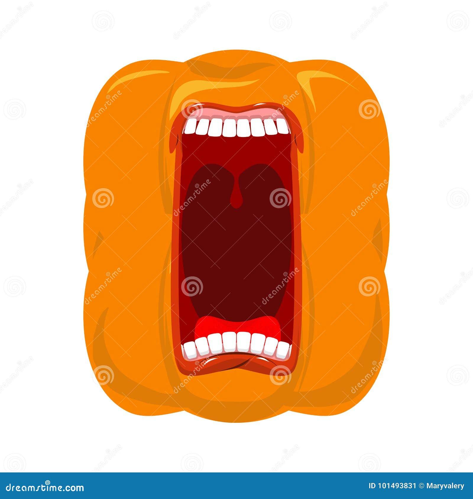 Les cris perçants de potiron ouvrent la bouche pour Halloween cri de potiron Vecteur