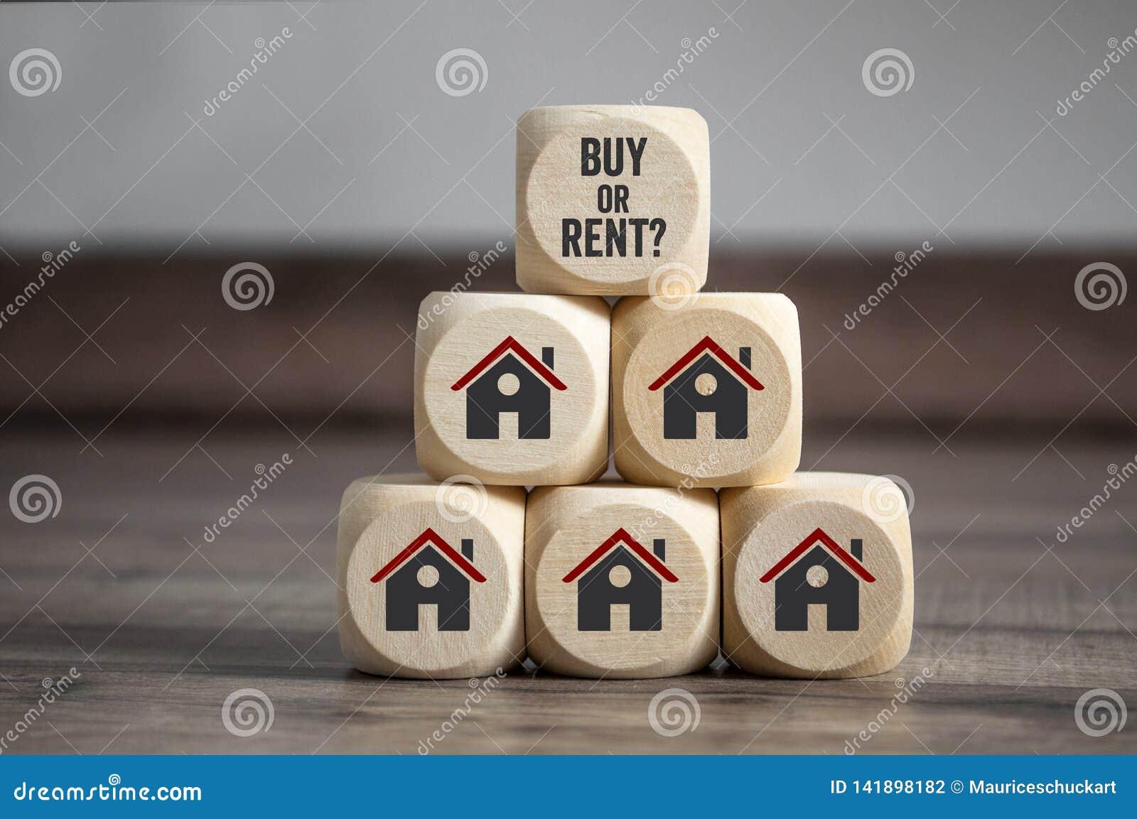 Les cubes découpent avec l achat ou le loyer et les icônes de maison