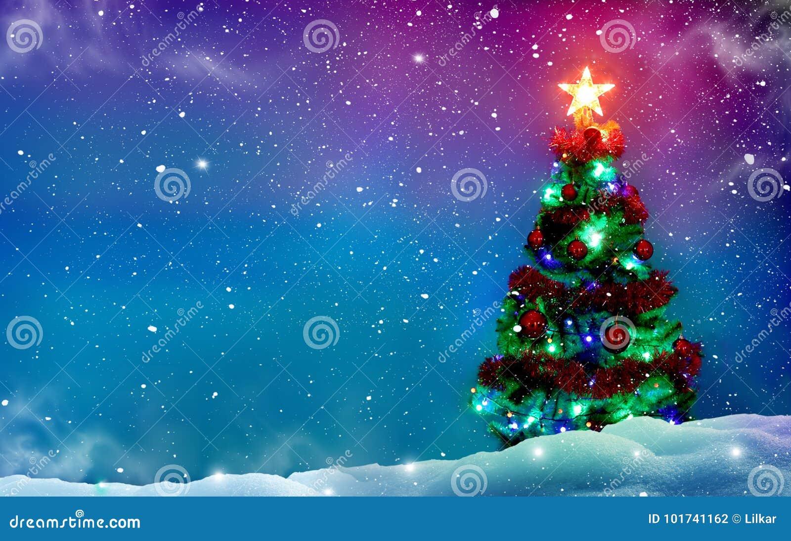 Les décorations de Noël de fond ont isolé le blanc d arbre Fond de l hiver Joyeux Christm