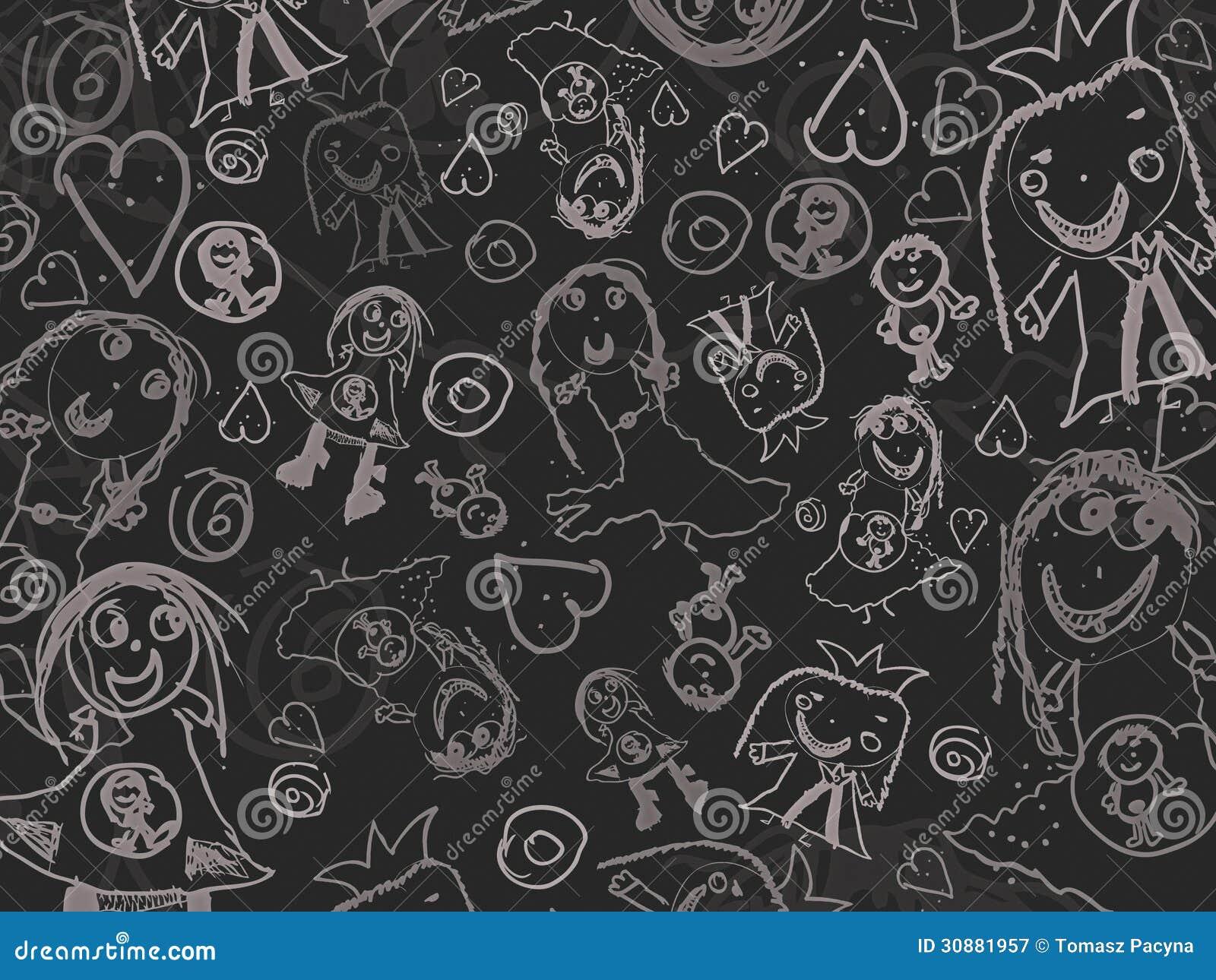Les dessins des enfants sur un fond noir photographie - Dessin fond noir ...