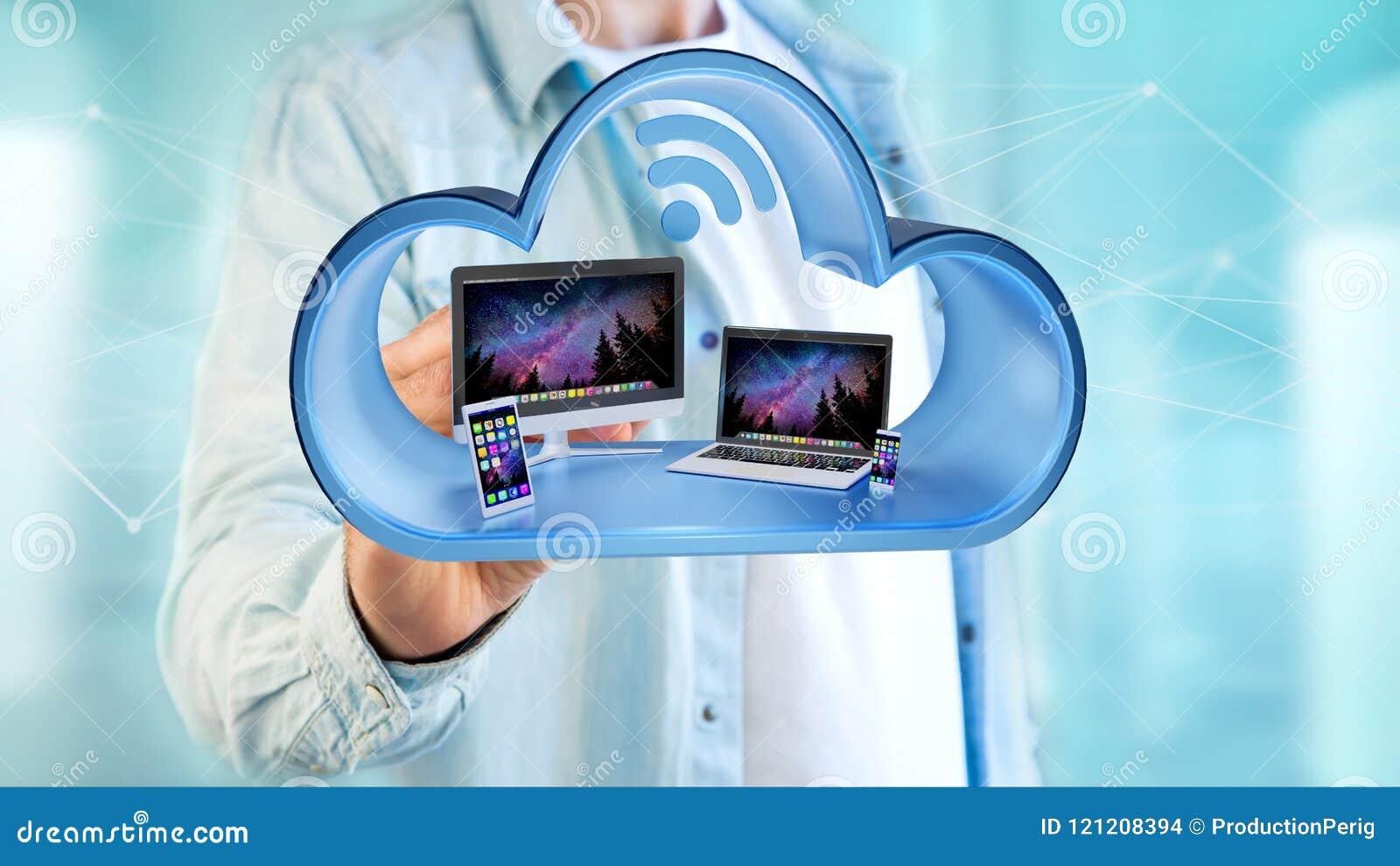 Les dispositifs aiment le smartphone, le comprimé ou l ordinateur montrés dans un nuage
