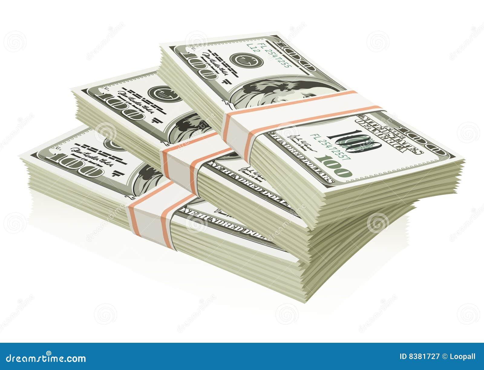 Les dollars ont isolé des paquets d argent