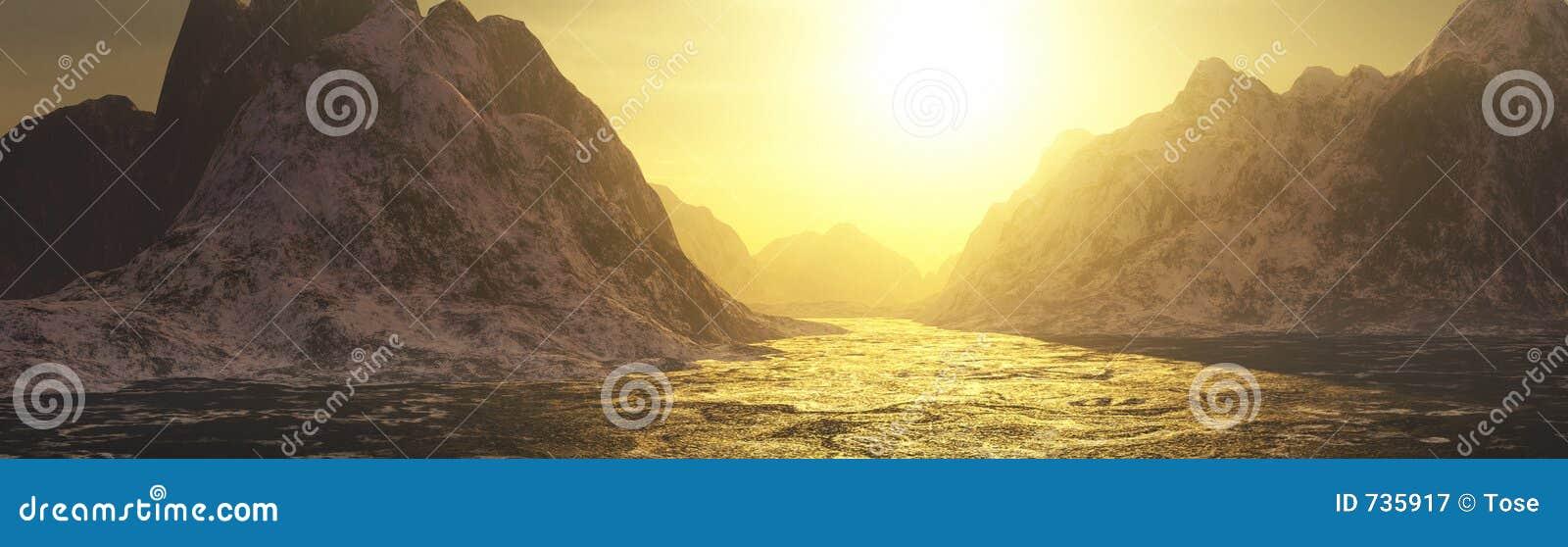 Les eaux d or et horizontal de montagnes
