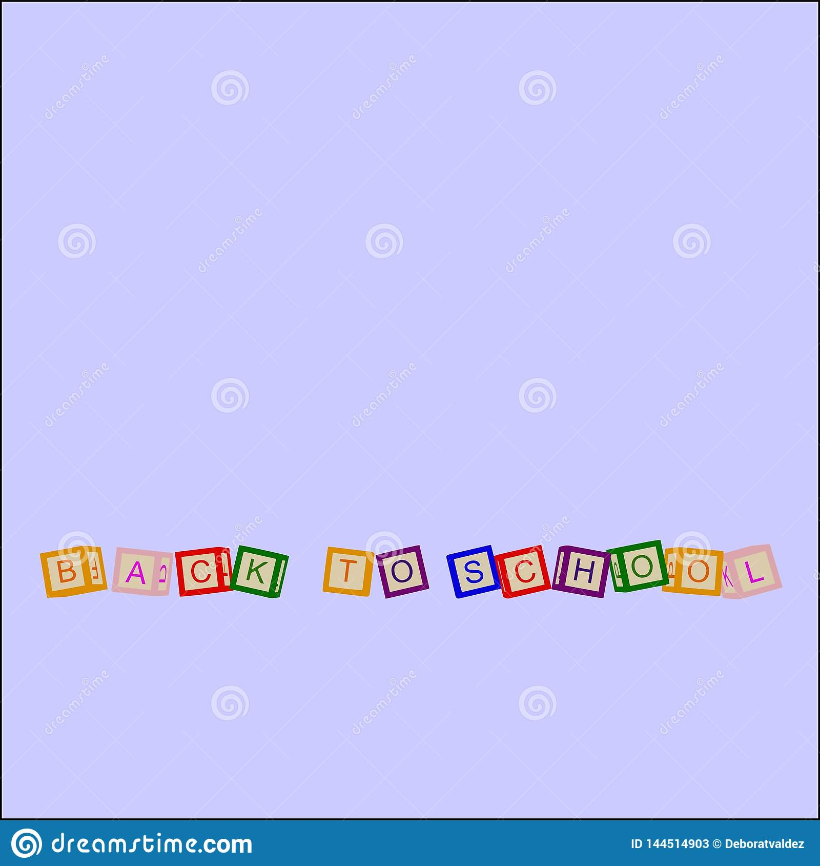 Les enfants colorent des cubes avec des lettres De nouveau à l école Vecteur