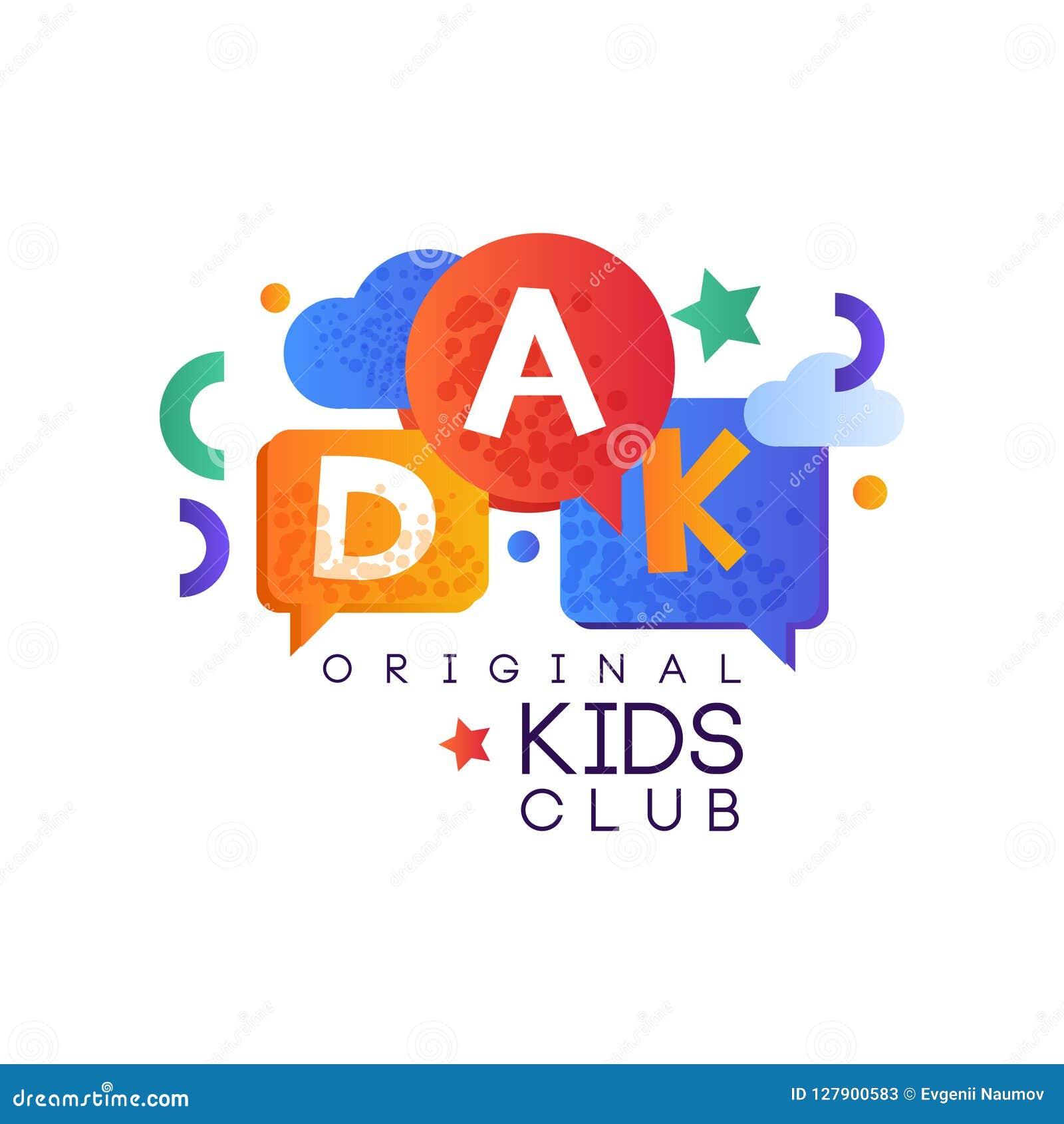 Les enfants débarquent le calibre original et créatif de logo de club de label, le terrain de jeu, le divertissement ou le vecteu