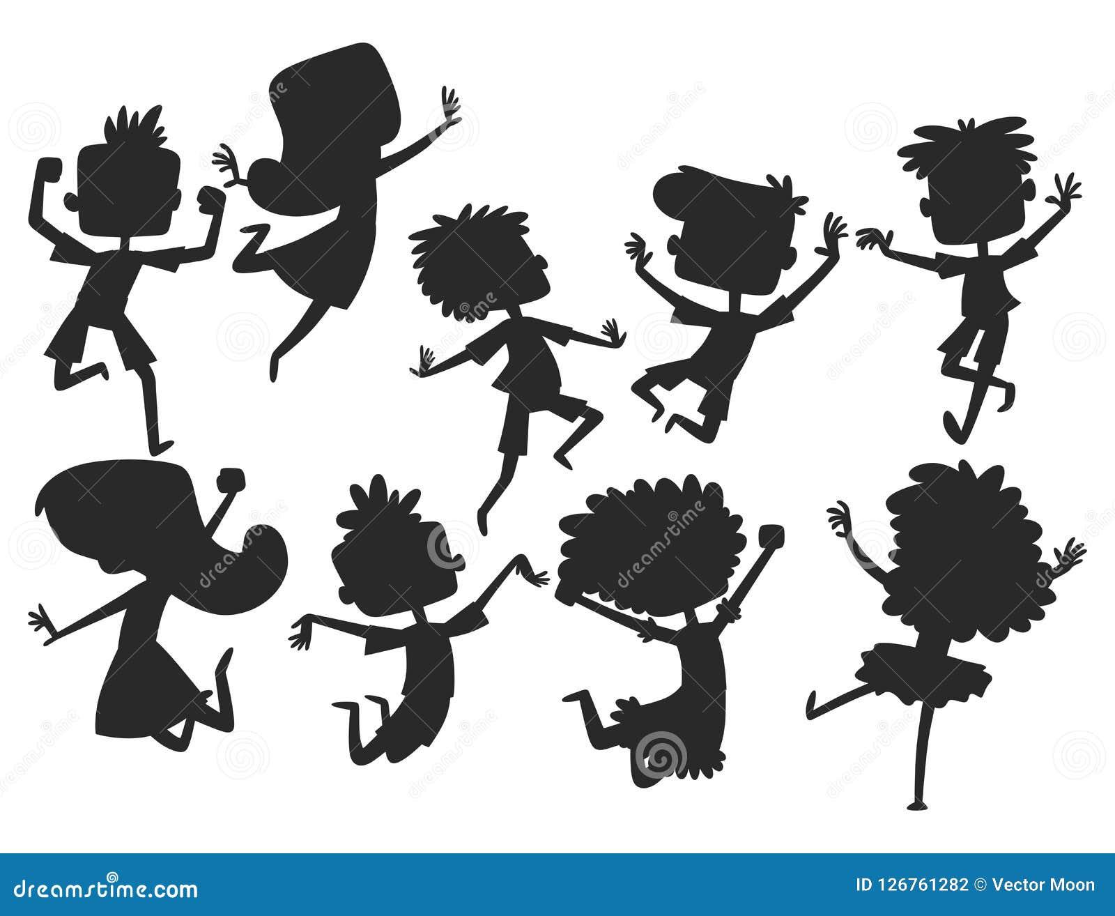 Les enfants heureux dans grand vecteur de différentes positions sautant le groupe gai de silhouette d enfant et la bande dessinée